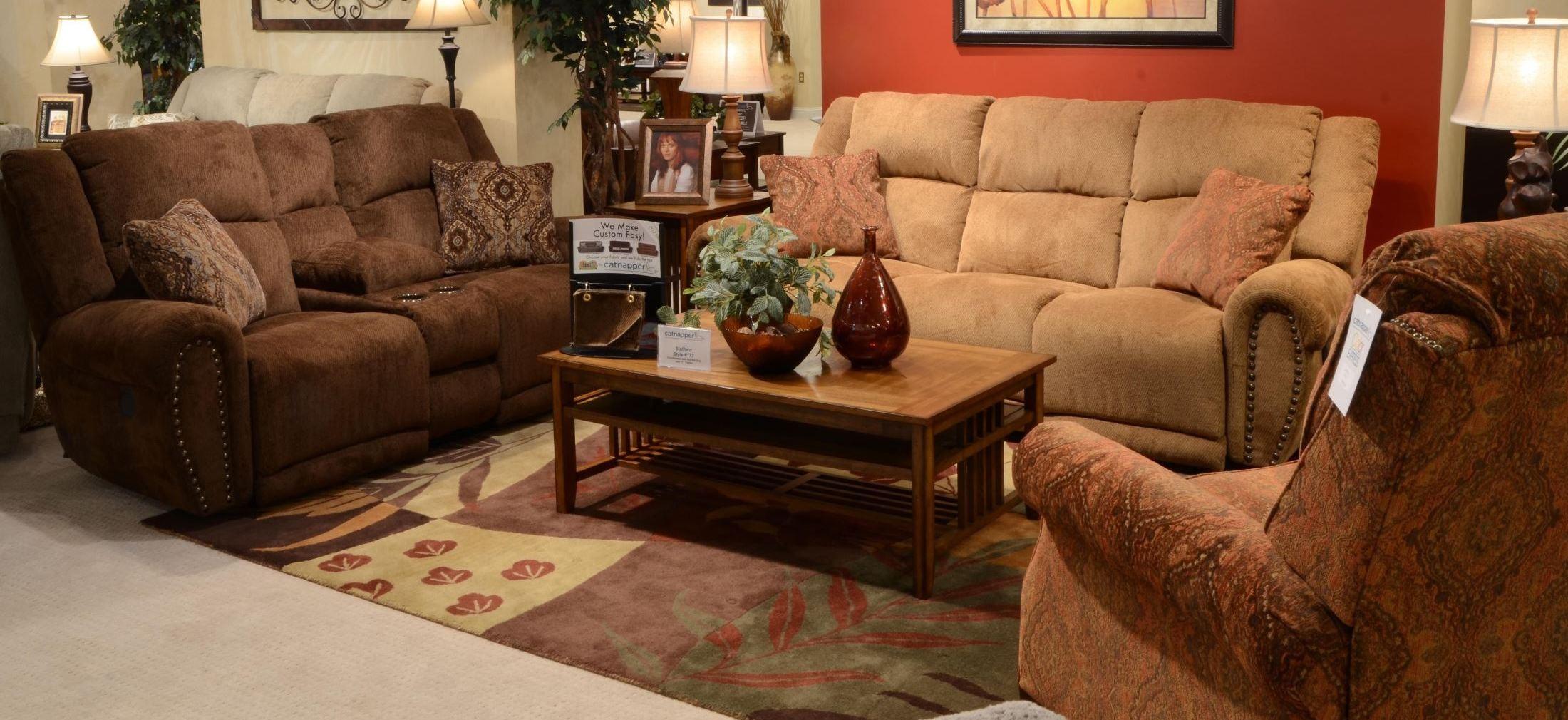 stafford caramel reclining living room set from catnapper