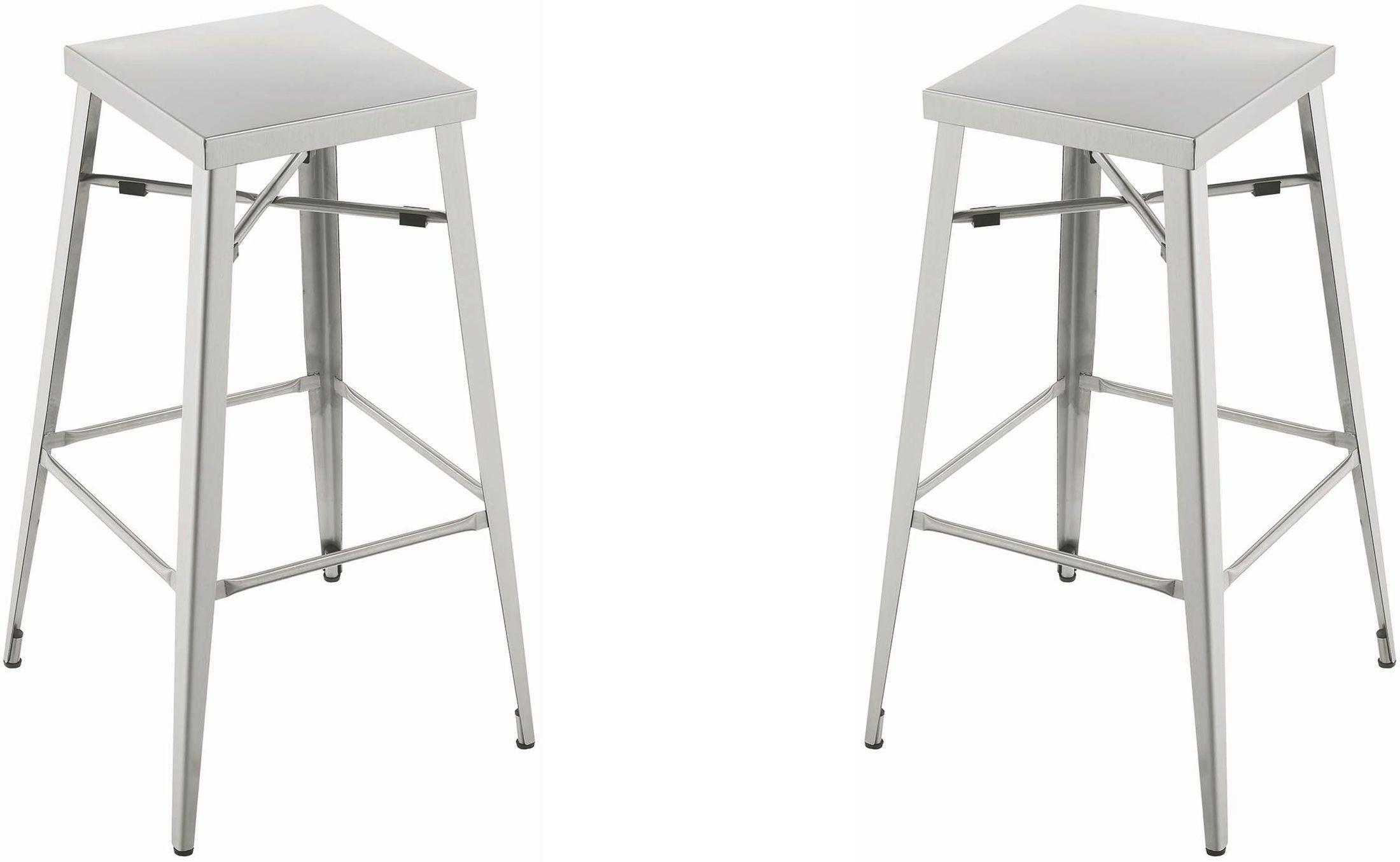 Silver Bar Stool Set Of 2 180172 Coaster Furniture
