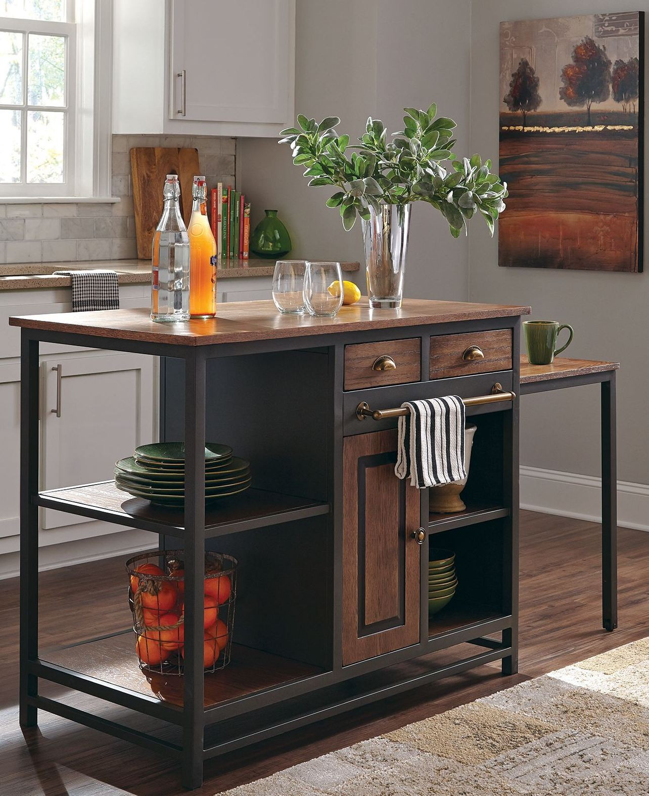 Wire-Brushed Wood Kitchen Island, 180220, Donny Osmond