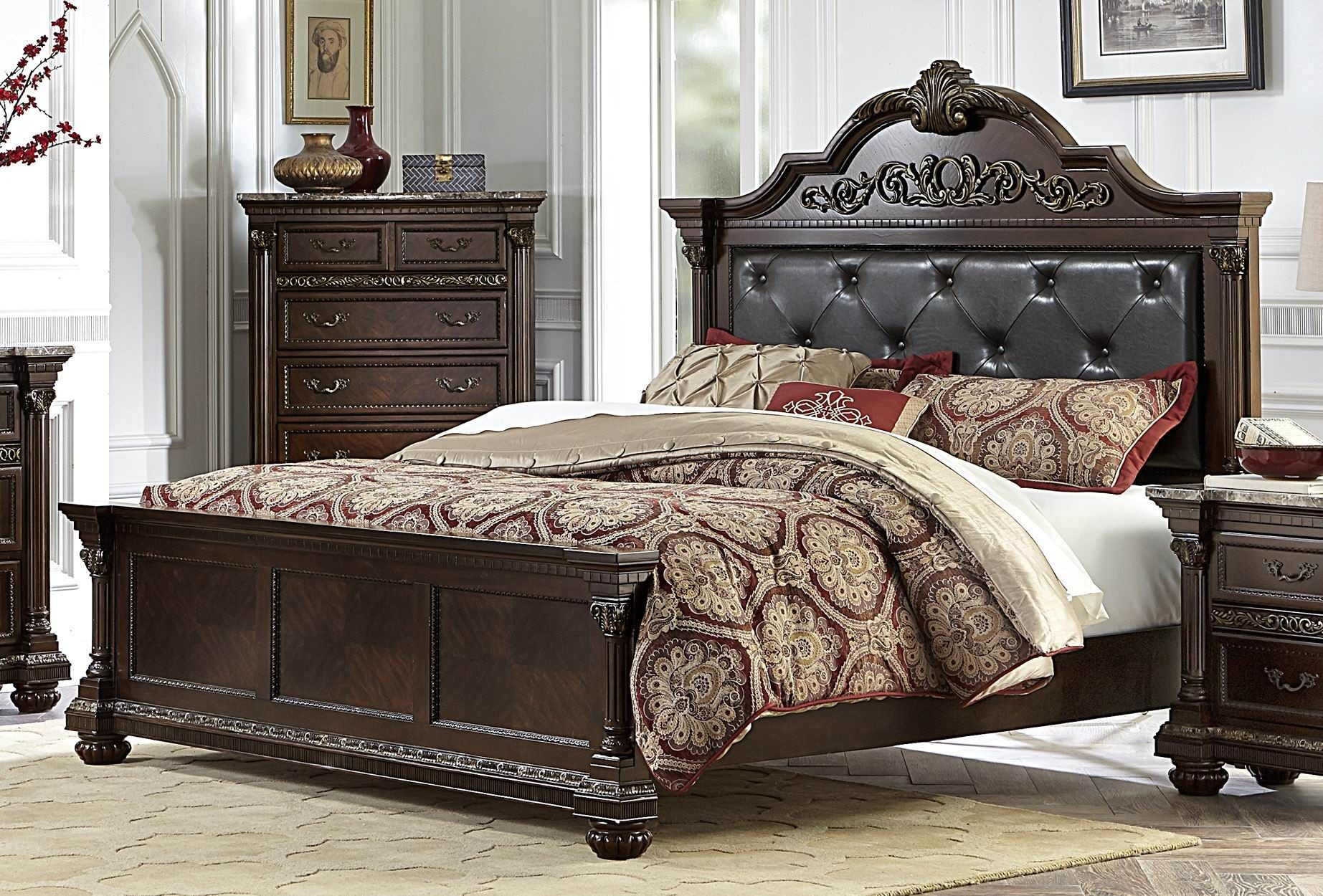 Russian Hill Warm Cherry Vinyl Cal King Panel Bed From Homelegance 1808k 1ck Coleman Furniture