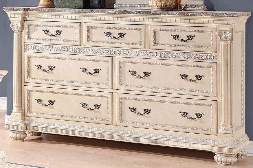 Russian Hill Antique White Faux Marble Top Dresser From Homelegance 1808W 5