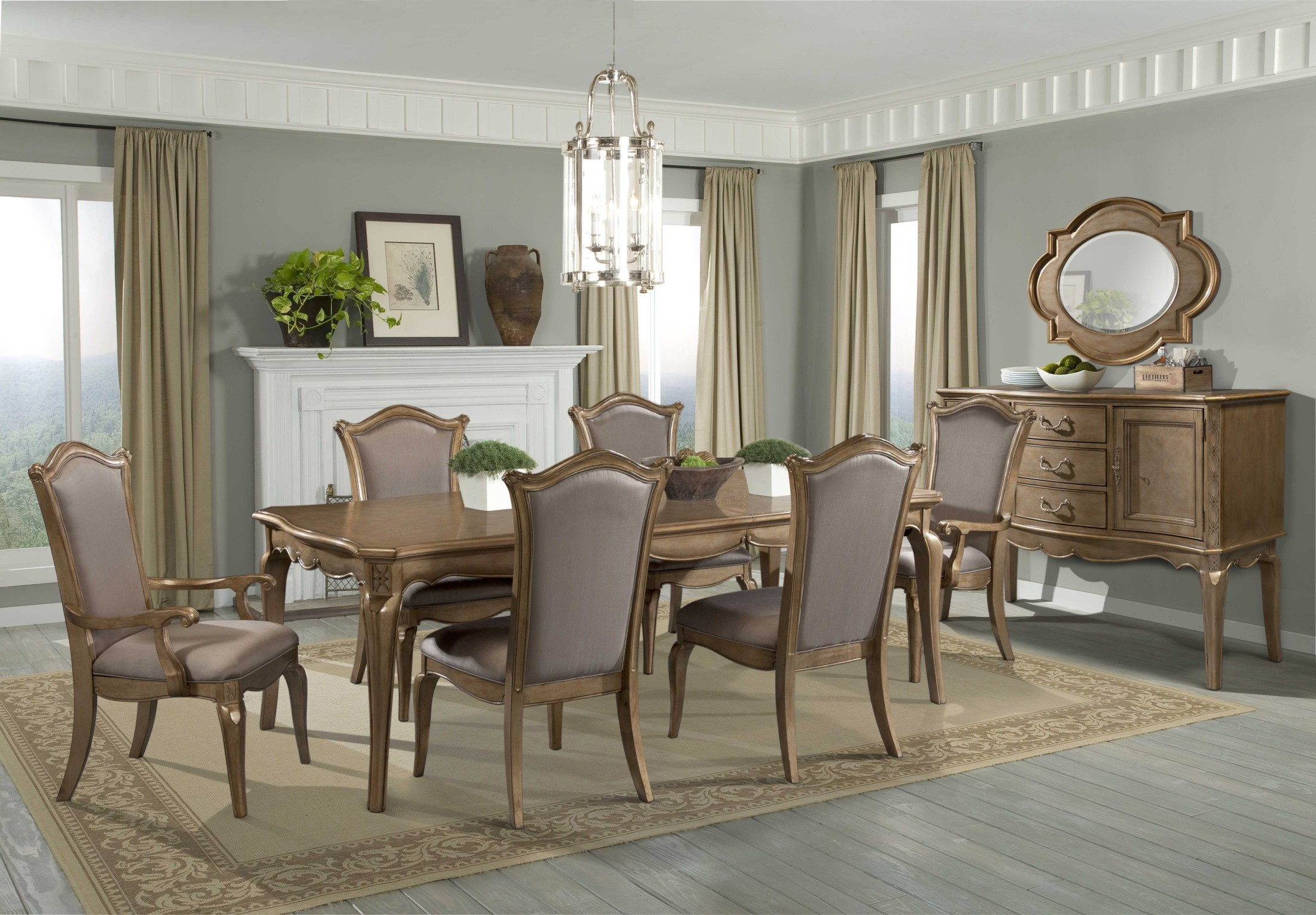 Chambord Champagne Gold Extendable Dining Room Set From Homelegance 1828 92