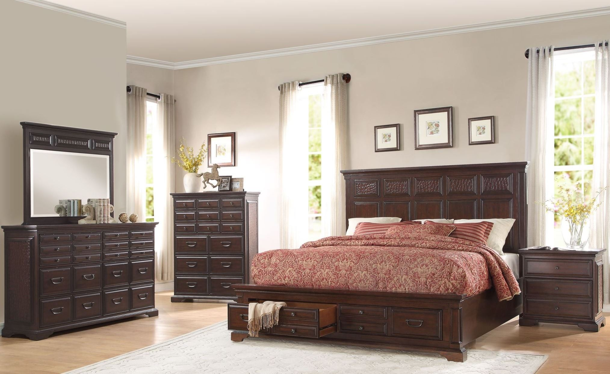 Cranfills Cherry Storage Platform Bedroom Set From