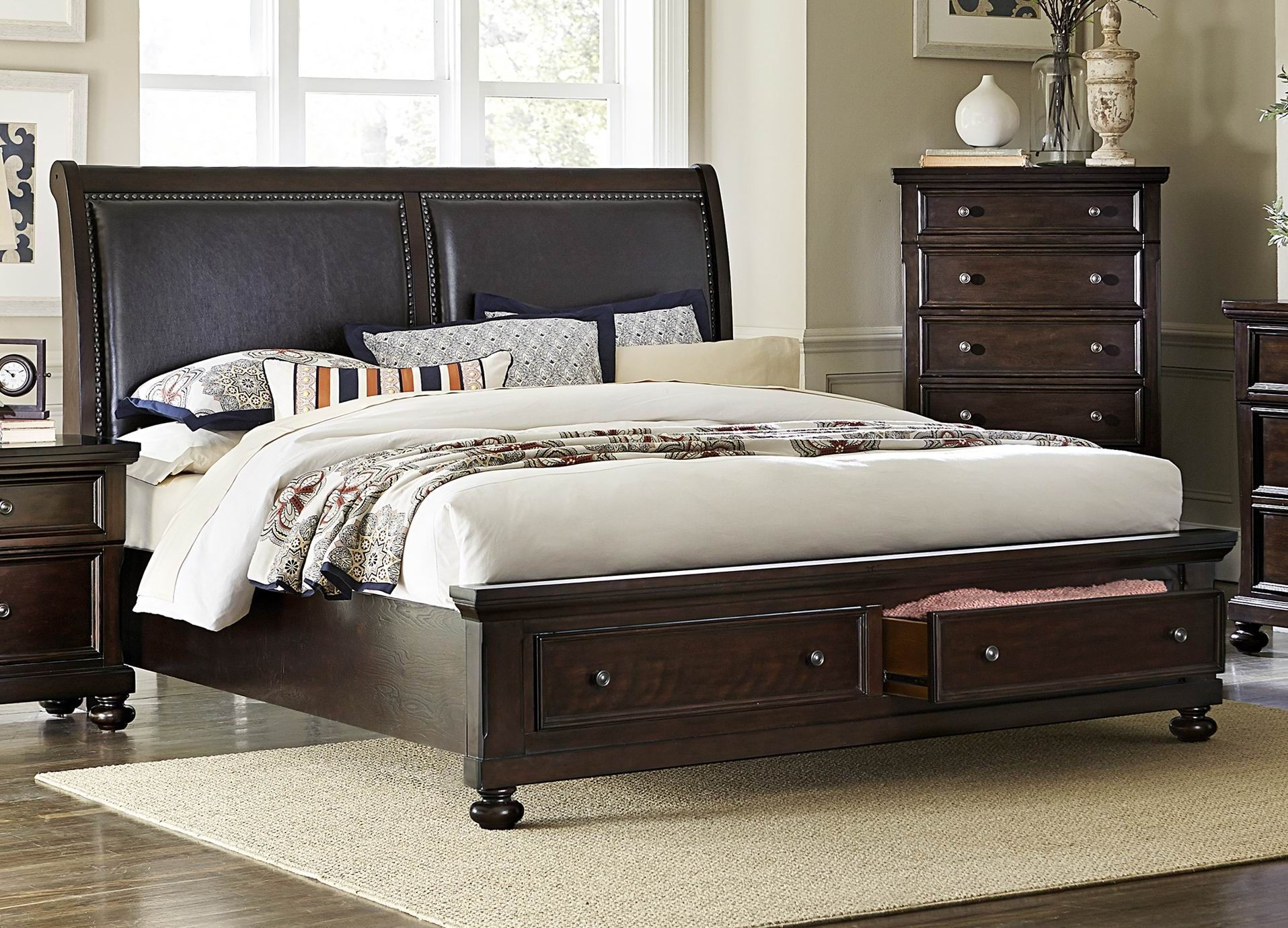 faust dark cherry cal king storage platform bed from homelegance 1834k 1ck coleman furniture. Black Bedroom Furniture Sets. Home Design Ideas