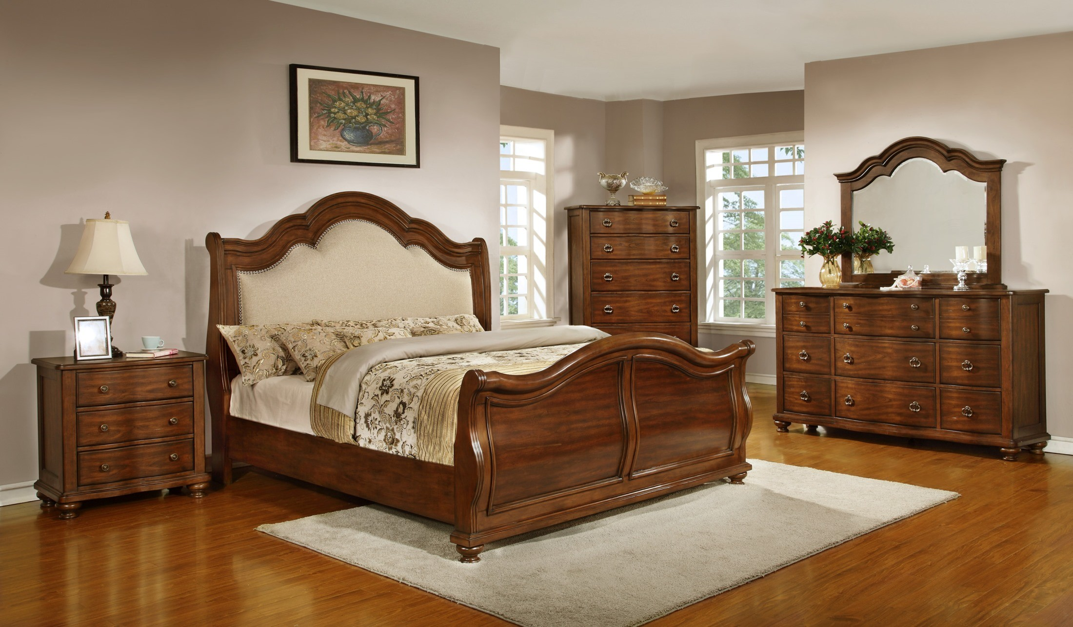 Davina Brown Cherry Sleigh Bedroom Set From Homelegance 1837 1 Coleman Furniture
