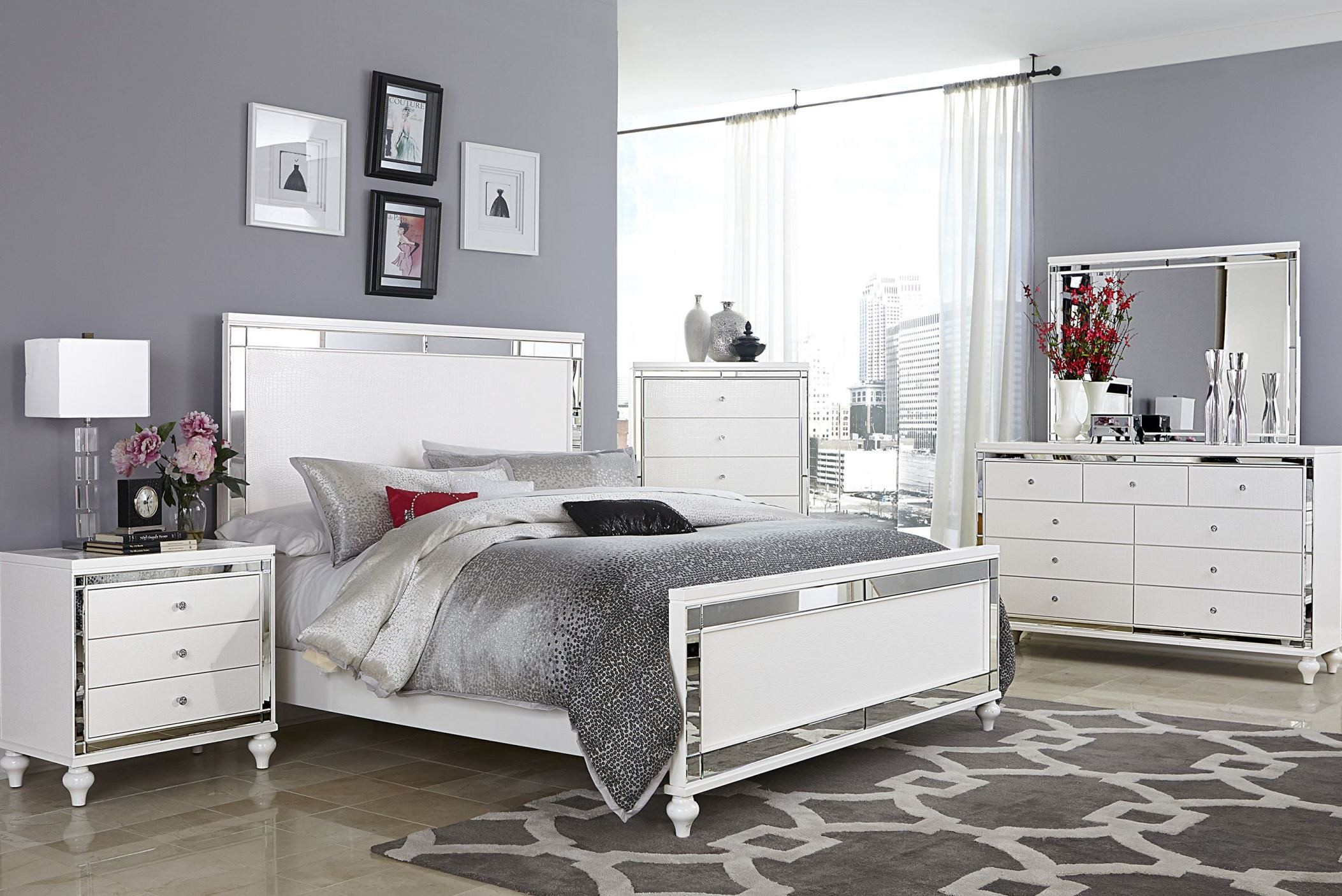 Alonza bright white panel bedroom set from homelegance - Bright house bedroom furniture ...