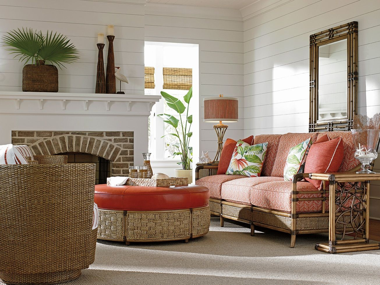 Twin Palms Seagate Orange Chevron Taupe Living Room Set, 01-1845-33-53 ...