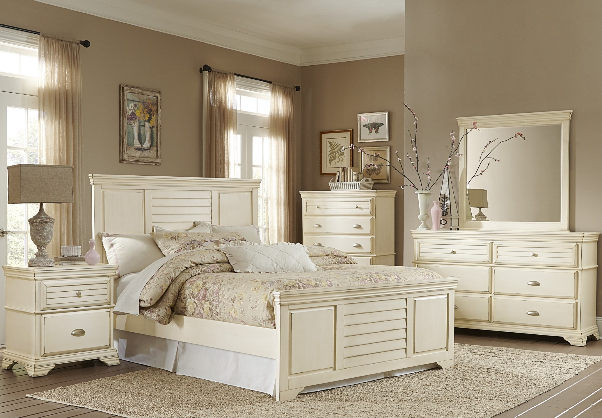 Laurinda Antique White Panel Bedroom Set From Homelegance 1846 1 Coleman Furniture