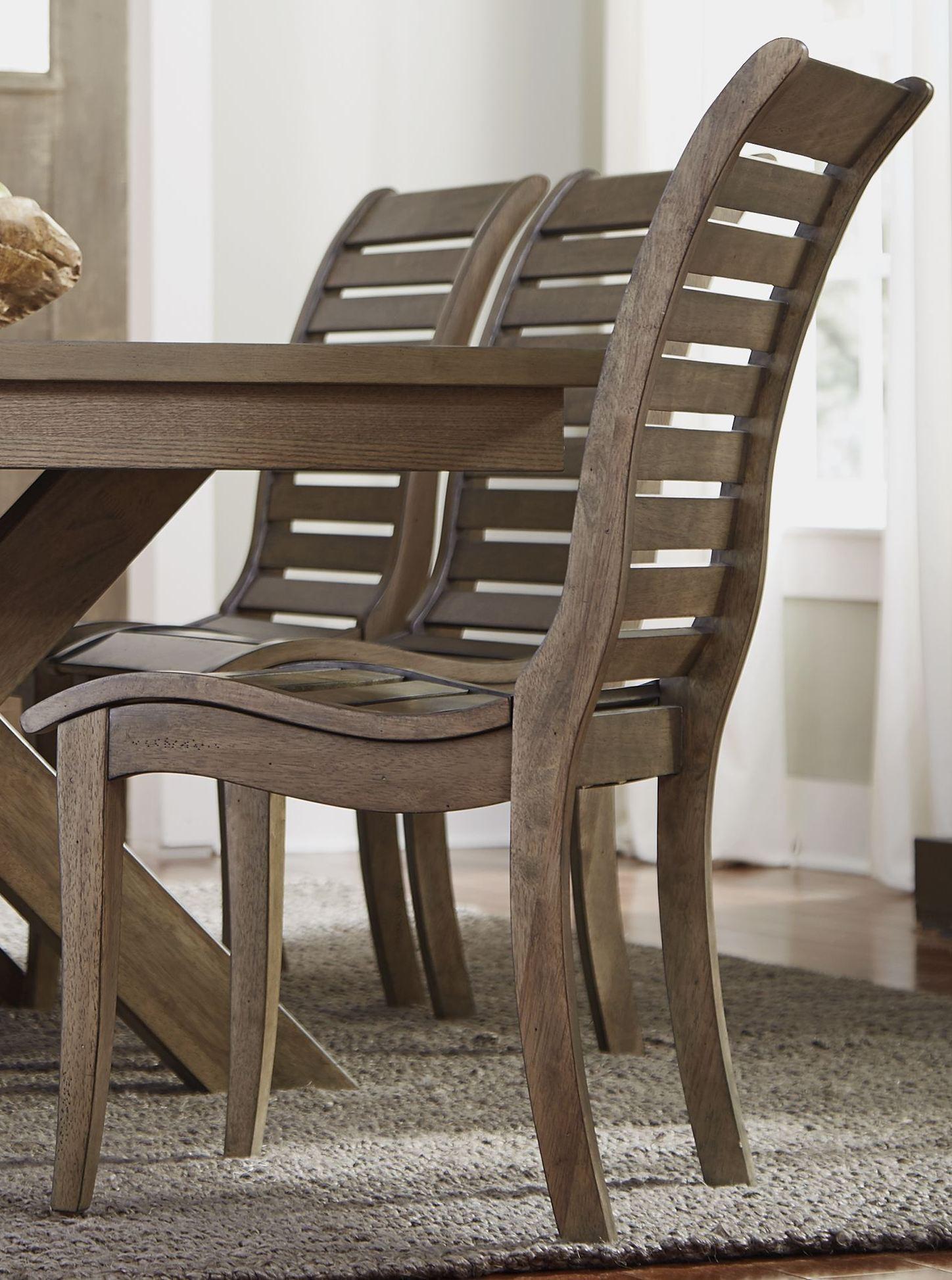Bayside Crossing Washed Chestnut Slat Back Side Chair Set