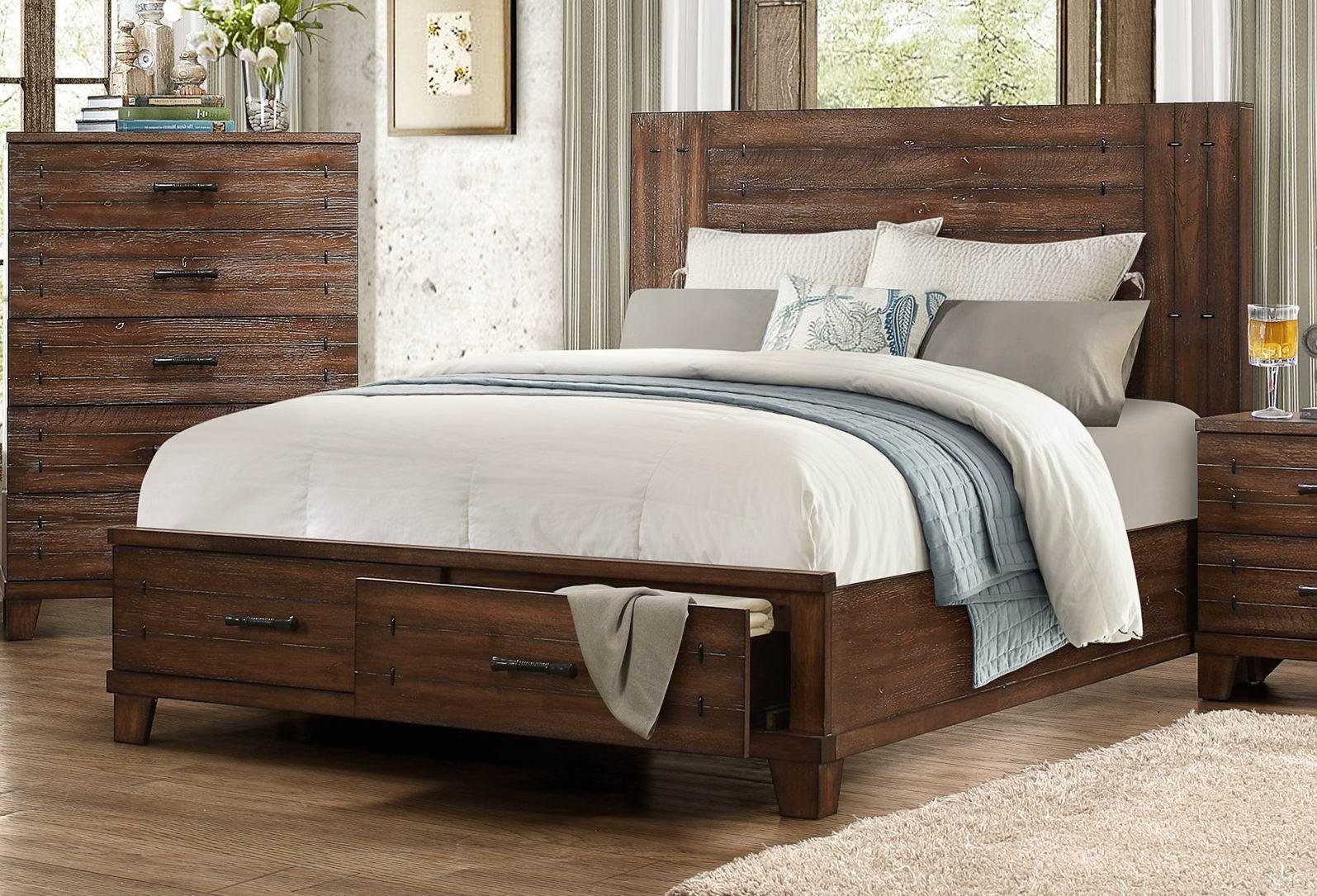 Wood Storage Bed : Brazoria natural wood queen platform storage bed from
