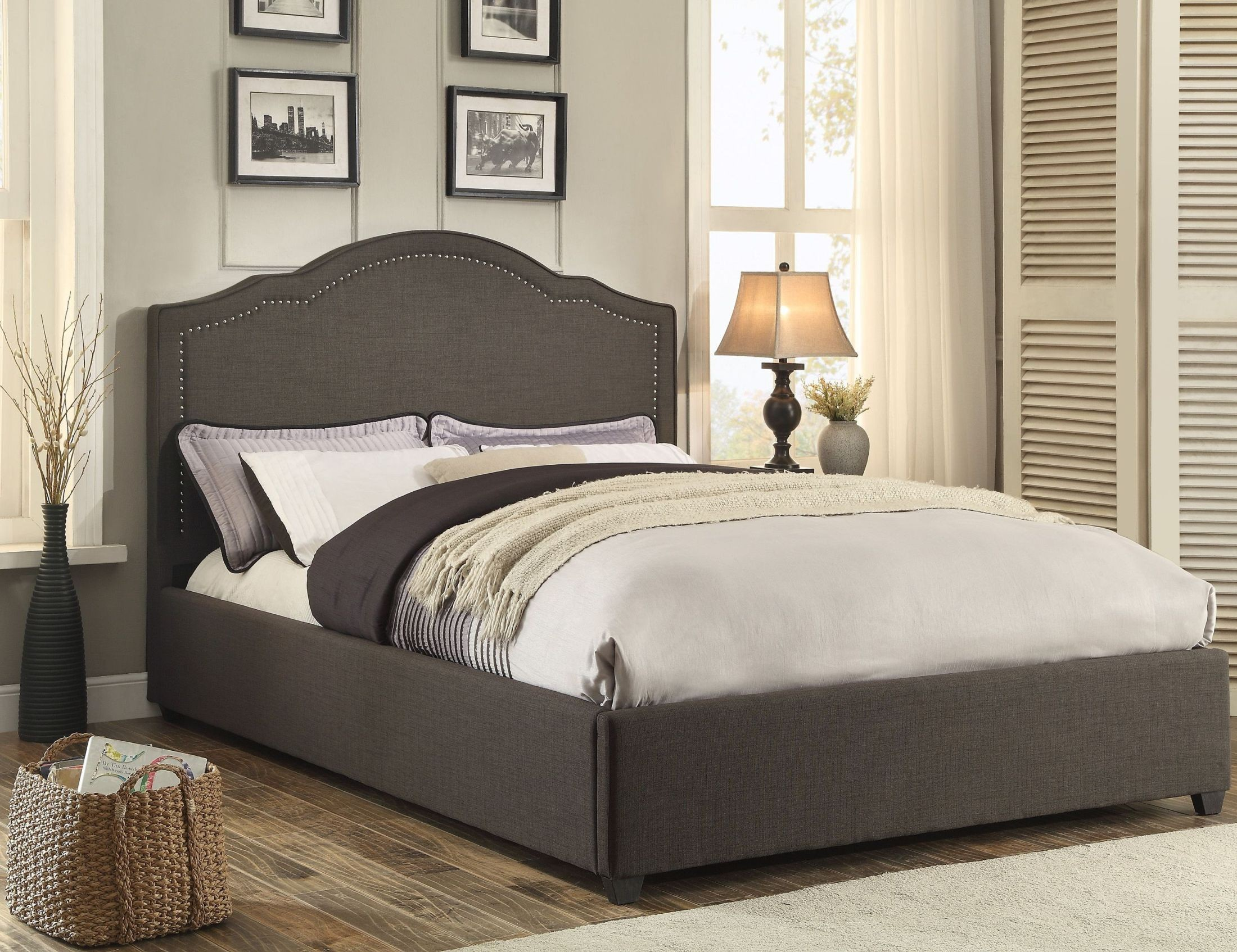 Zaira Gray Queen Upholstered Panel Bed 1885n 1 Homelegance