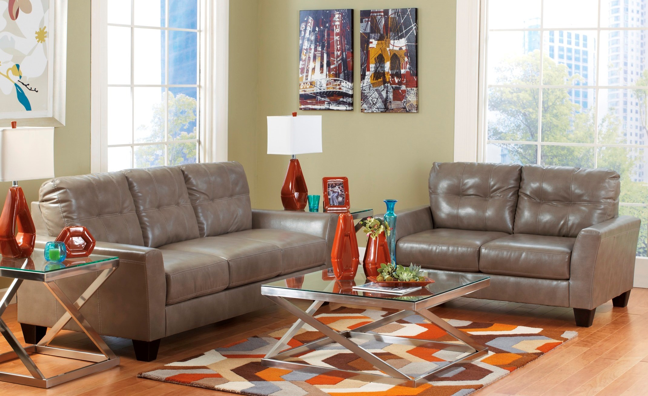 Paulie DuraBlend Quarry Living Room Set From Ashley 27001 38 35 Coleman F