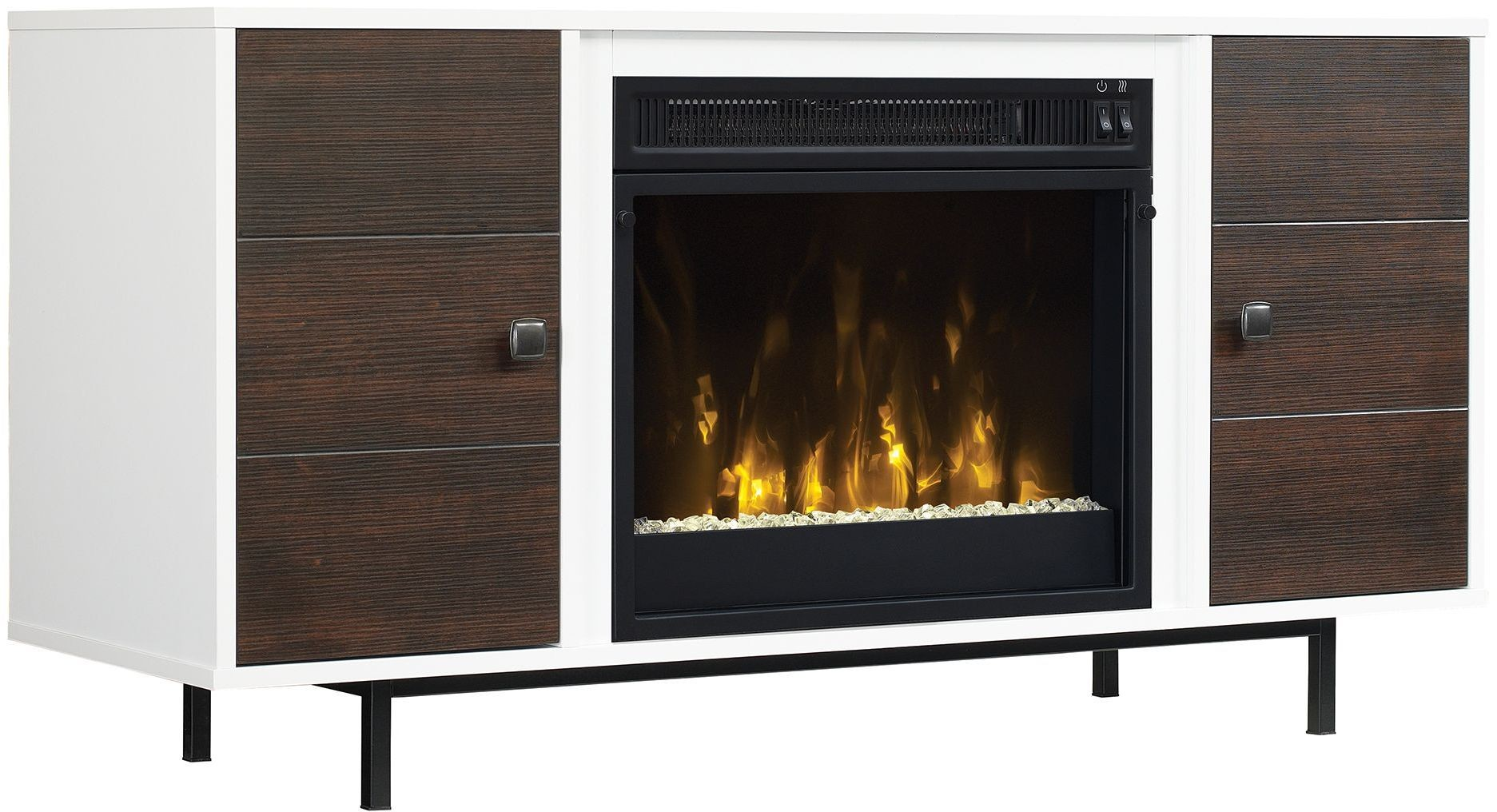 Classicflame High Gloss White Ridgeville Tv Stand With Electric Fireplace 18mm6158 Nt01s Twin