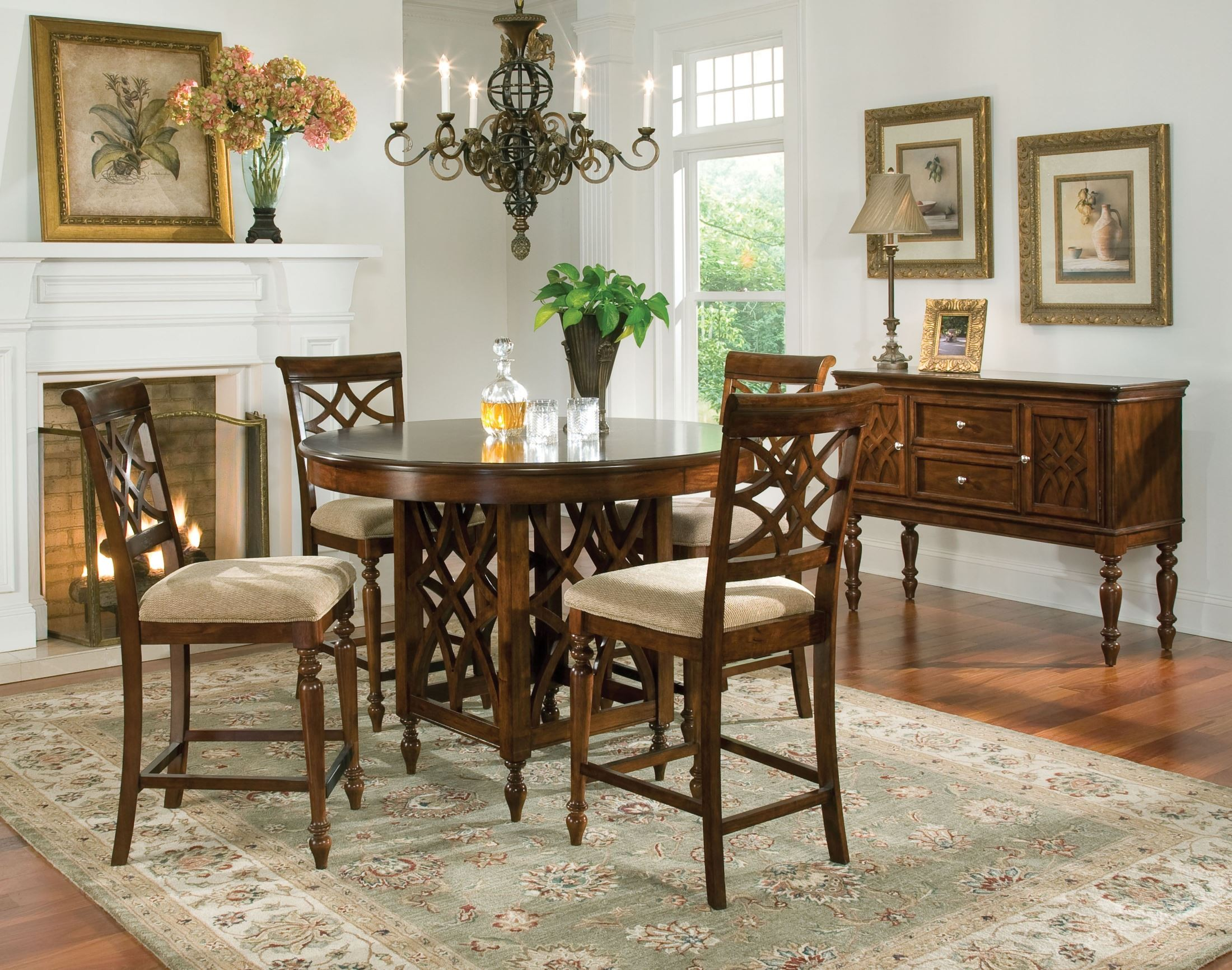 Woodmont brown cherry round counter height dining room set for Standard dining room table height
