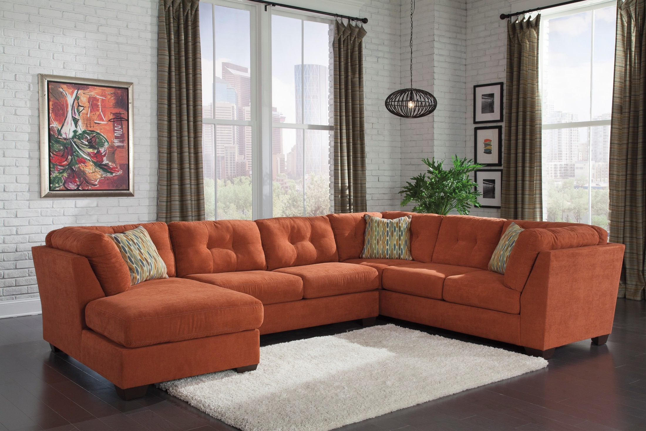 Delta City Rust Laf Sectional From Ashley 19701 16 34 38 Coleman Furniture