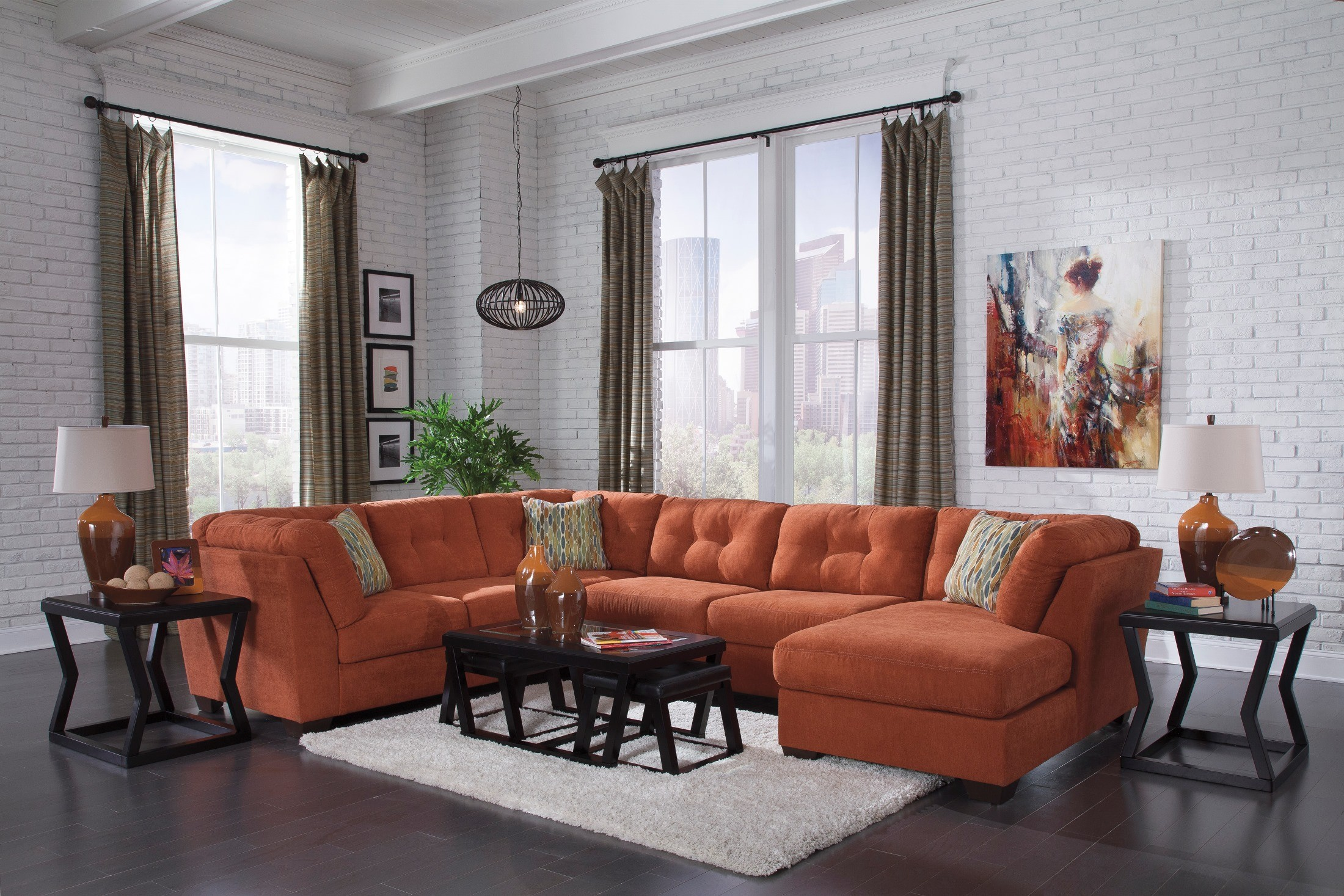 Delta City Rust Raf Sectional From Ashley 19701 38 34 17 Coleman Furniture