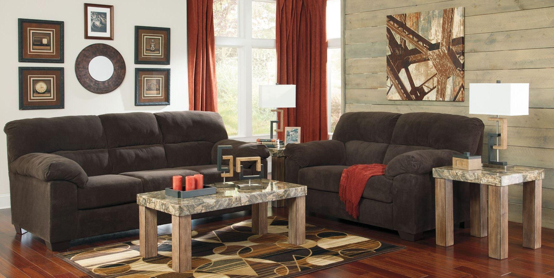 zorah chocolate living room set from ashley 9450138 coleman