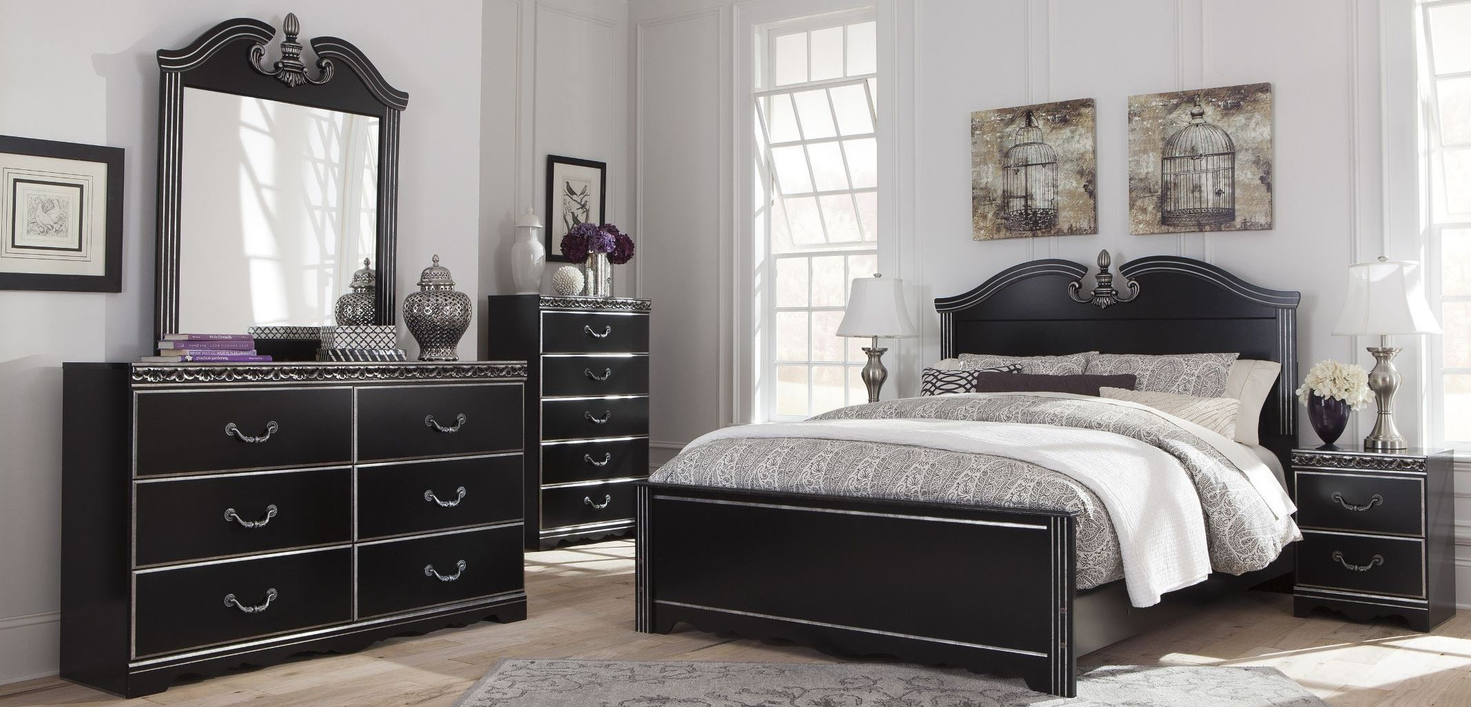 navoni black panel bedroom set from ashley b301 54 57 96