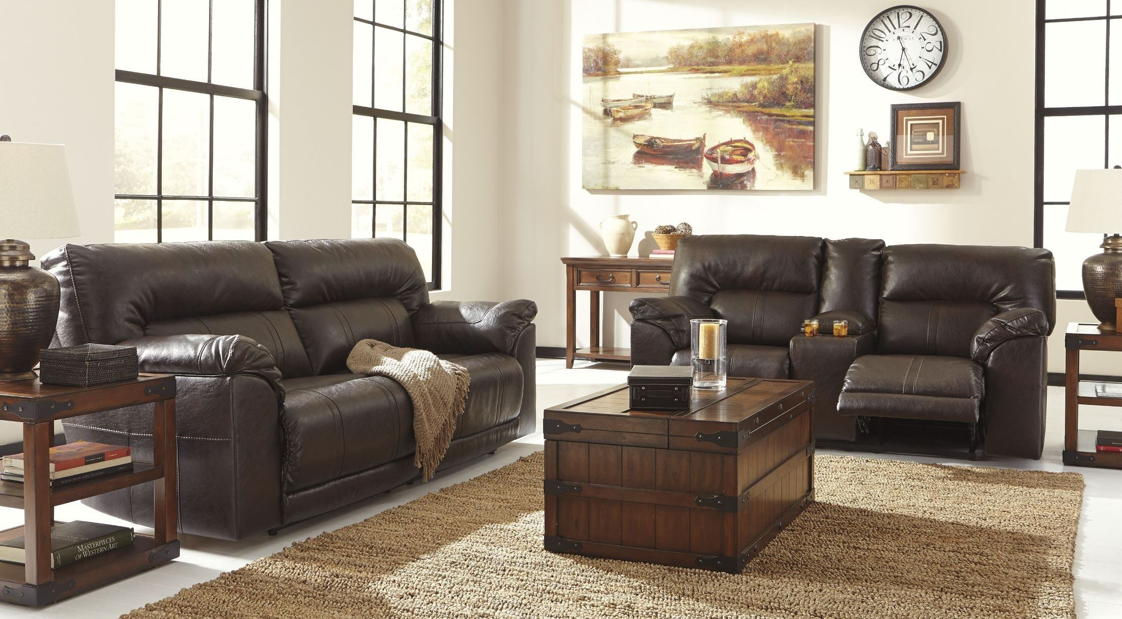 Barrettsville DuraBlend Chocolate Power Reclining Living Room Set From Ashley