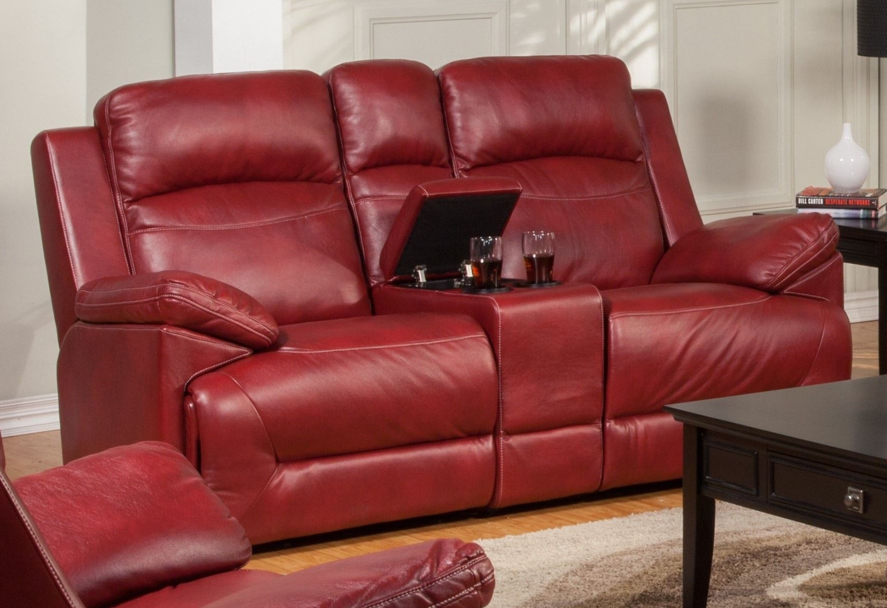 Cortez Red Dual Glider Reclining Loveseat With Console