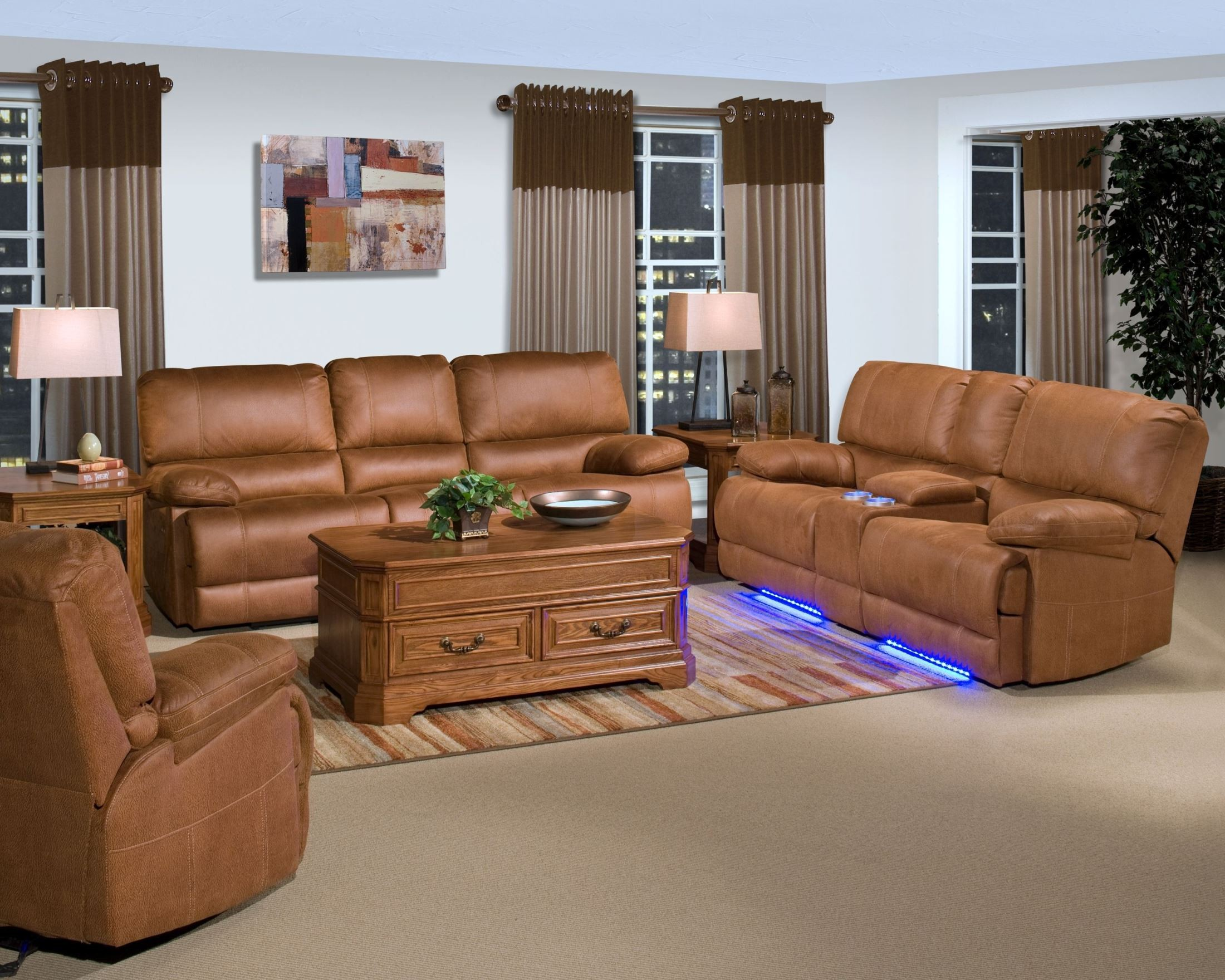 Montana Canyon Brown Power Reclining Living Room Set From New Classics