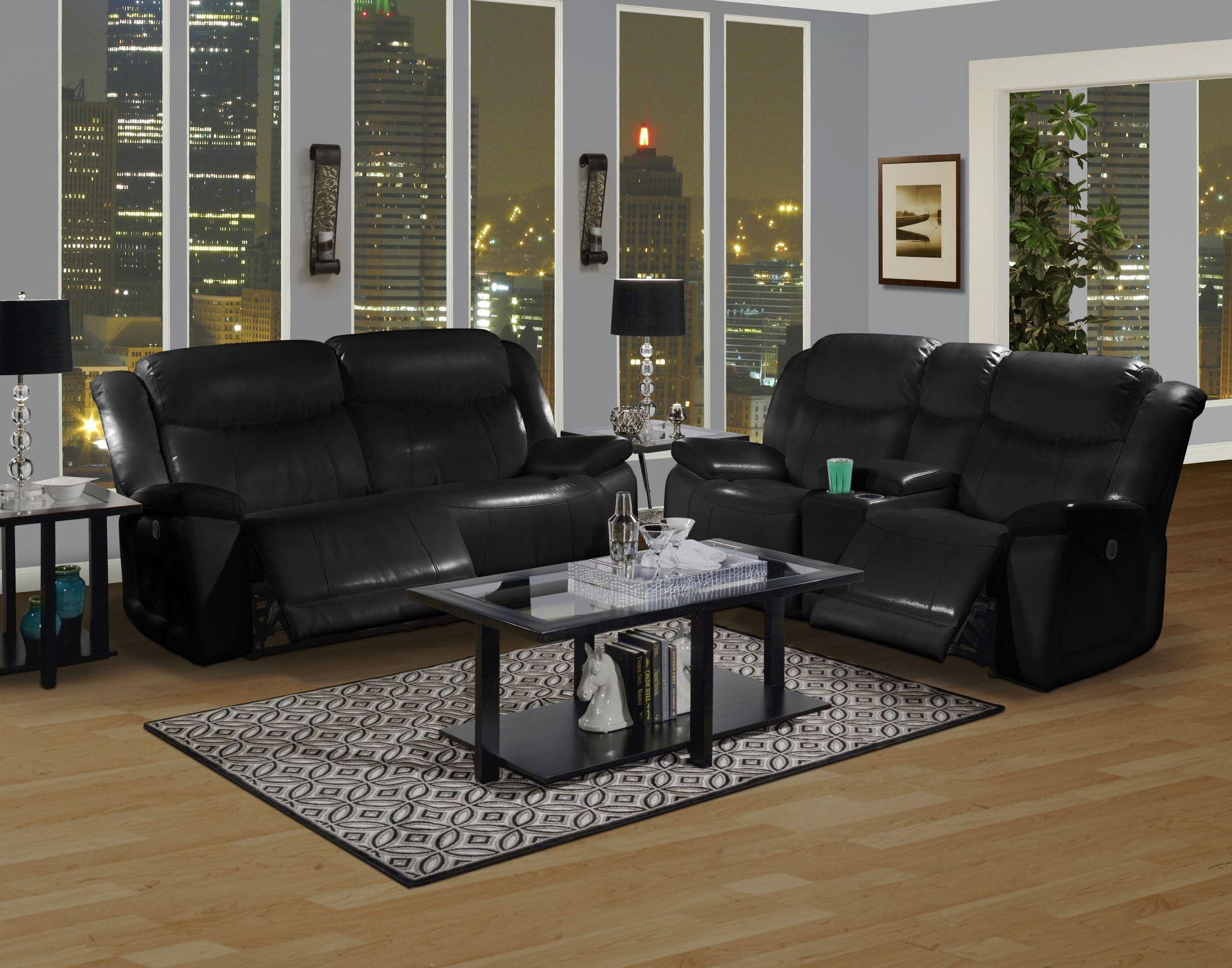 soho mesa black power reclining living room set from new