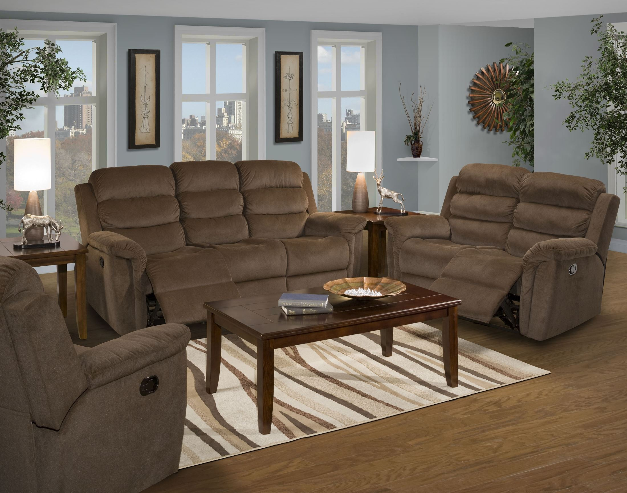Charlotte chocolate dual reclining living room set from for Cheap living room sets charlotte nc