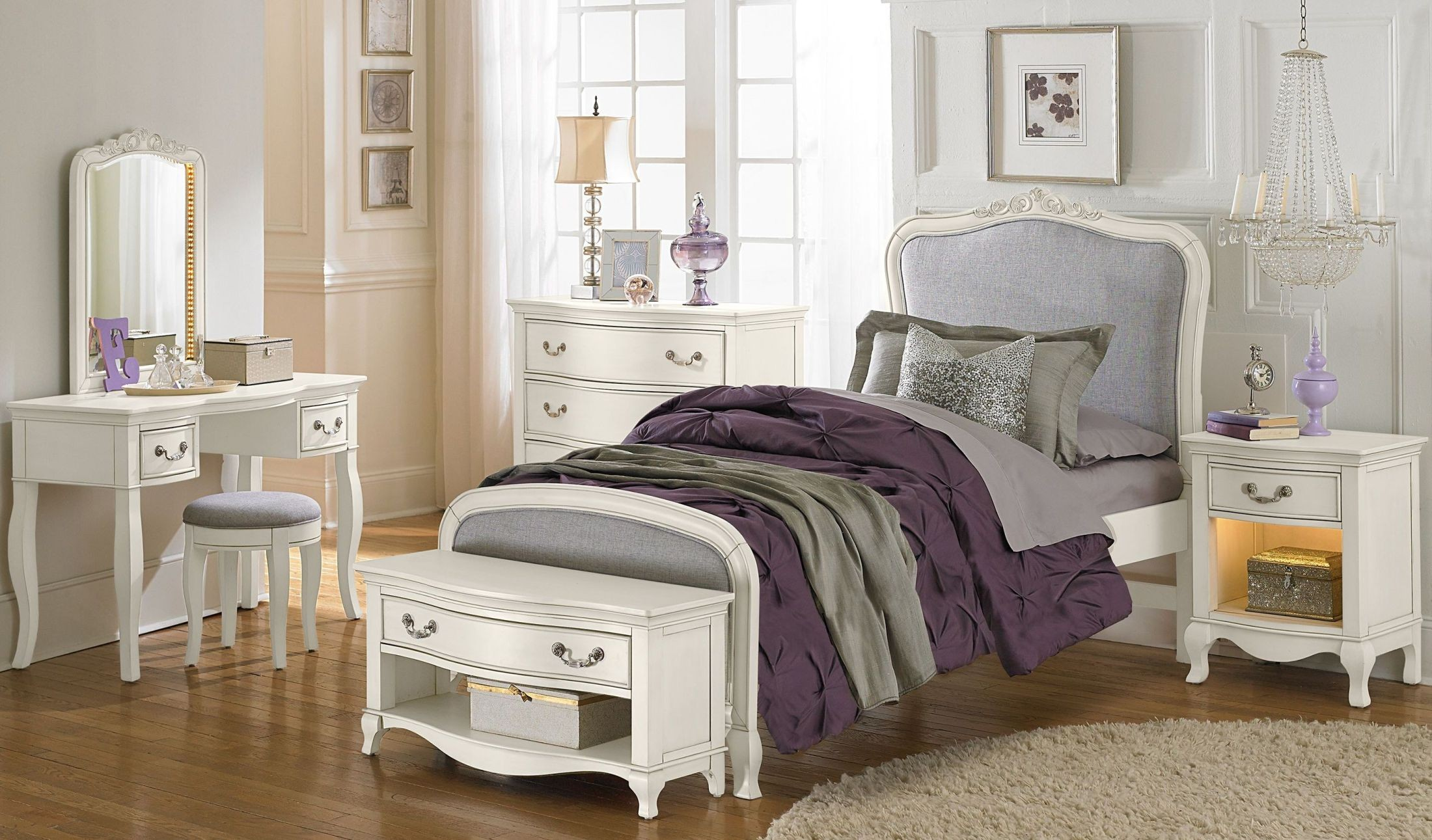 Kensington Antique White Katherine Upholstered Youth Panel Bedroom Set 20020