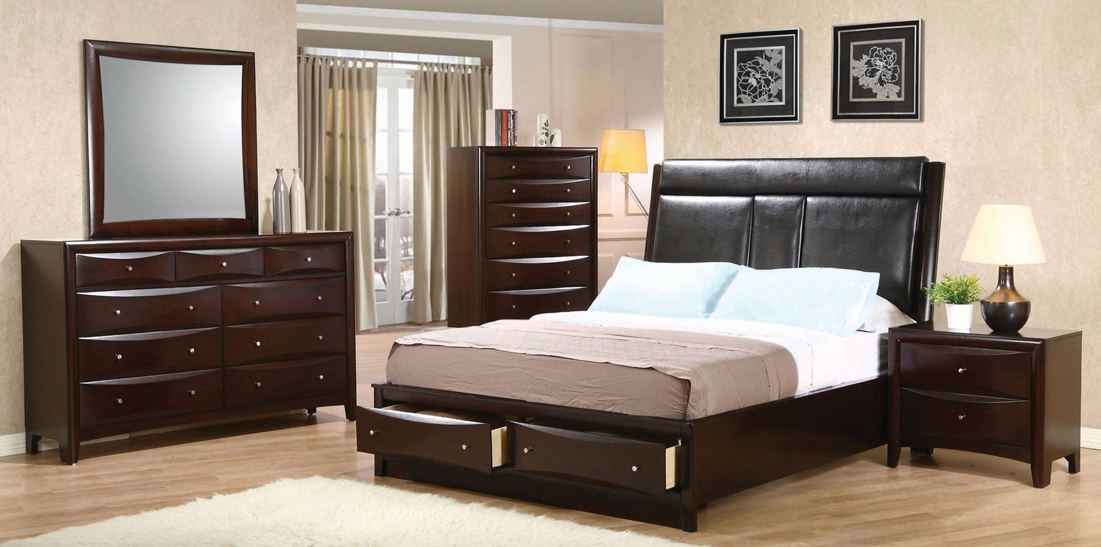 phoenix upholstered storage bedroom set from coaster 200419q