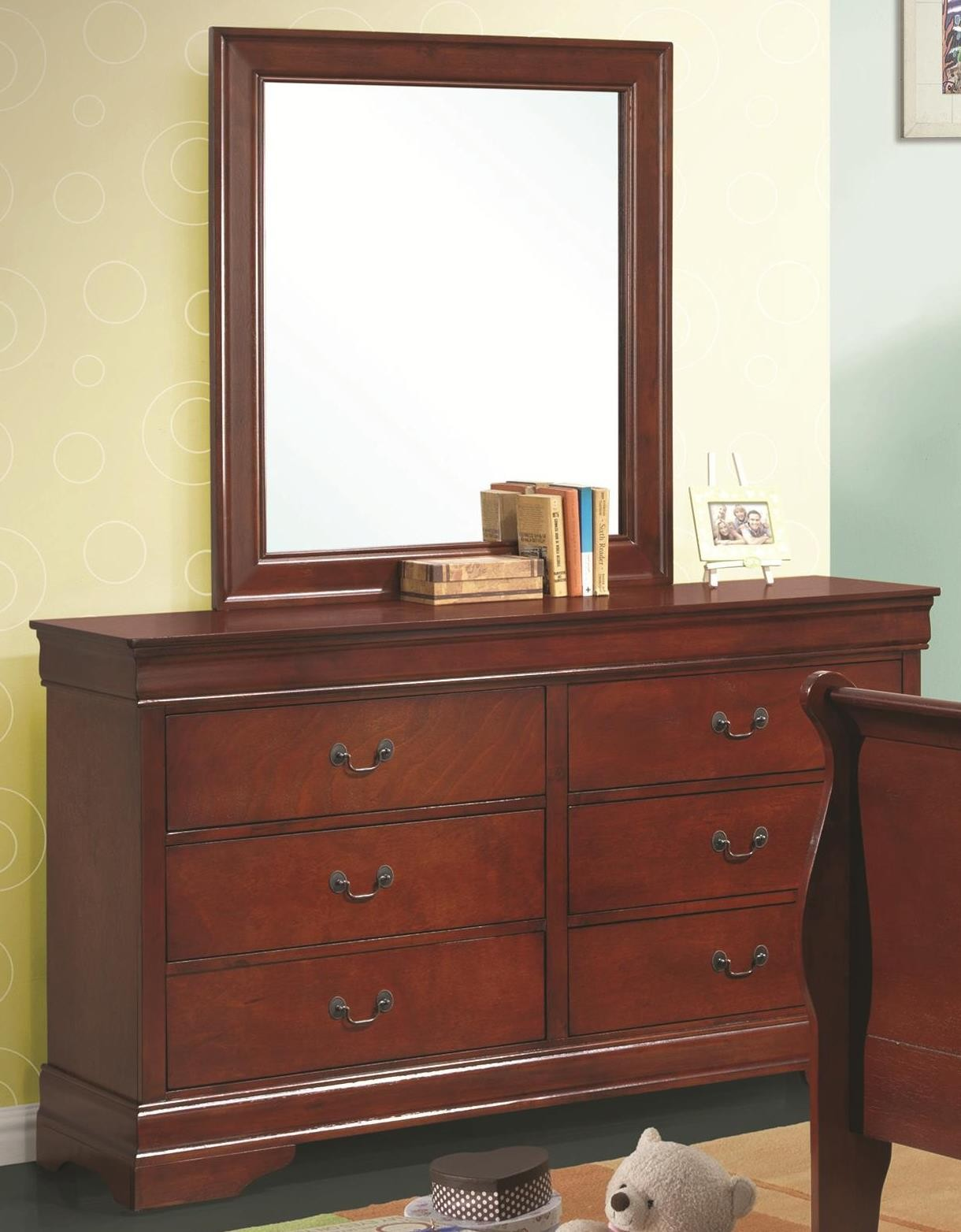 Louis Philippe Cherry Youth Sleigh Bedroom Set 200431t
