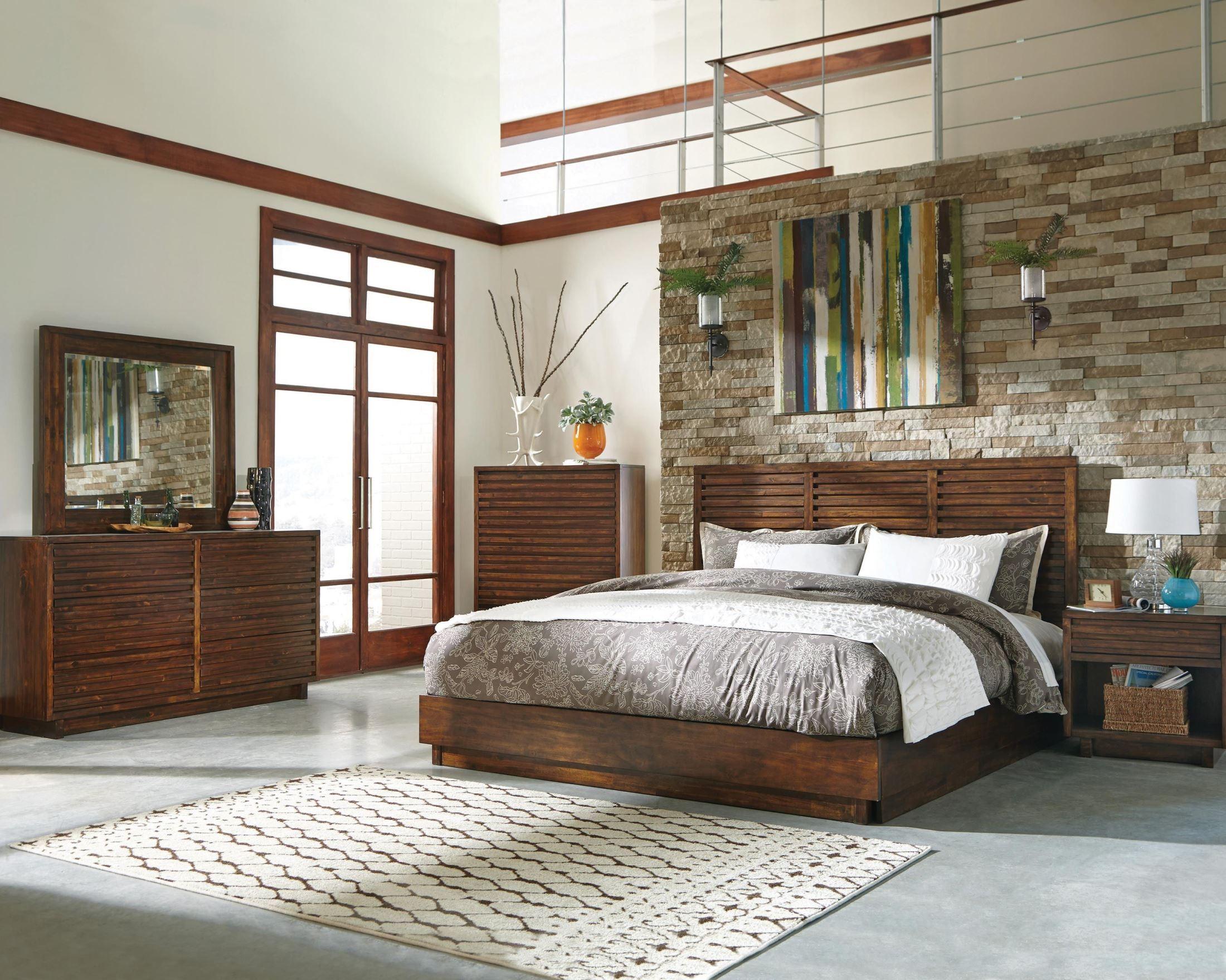 avery aged bourbon platform bedroom set, 200981q, coaster furniture
