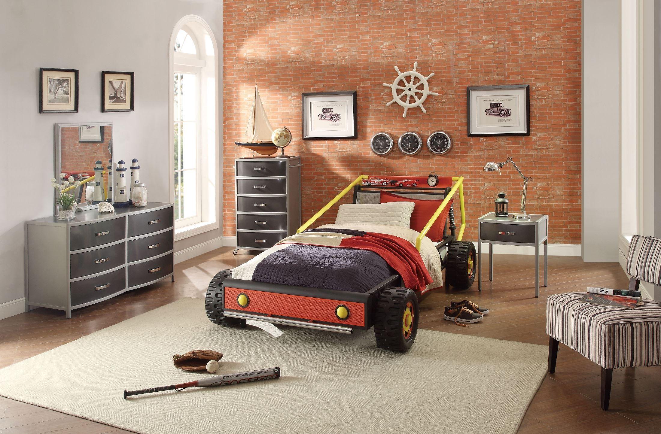 Track red twin race car bedroom set 2009t 1 homelegance - Cars bedroom set ...