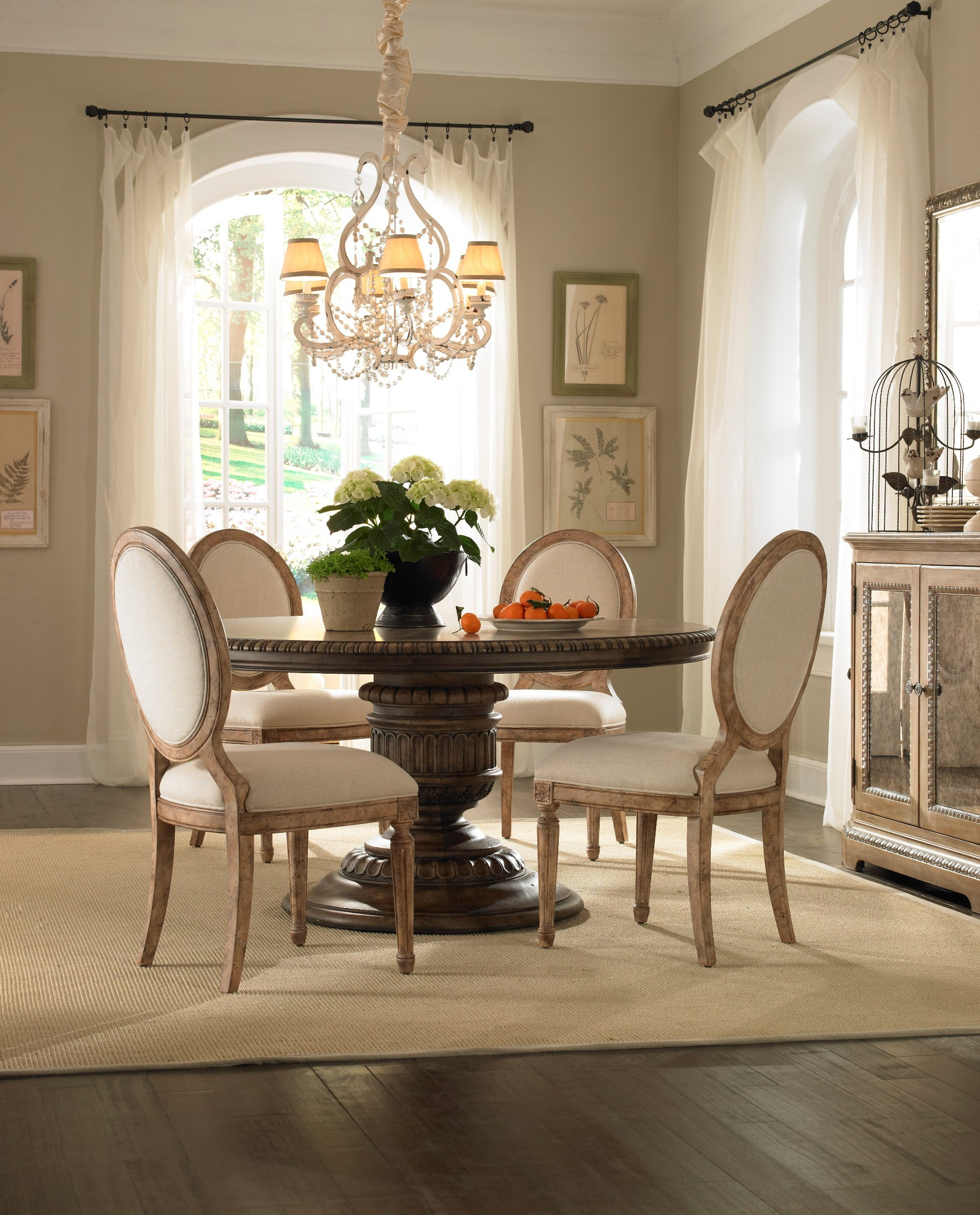 Accentrics home daphne round dining table from pulaski for Round dining room sets for small spaces