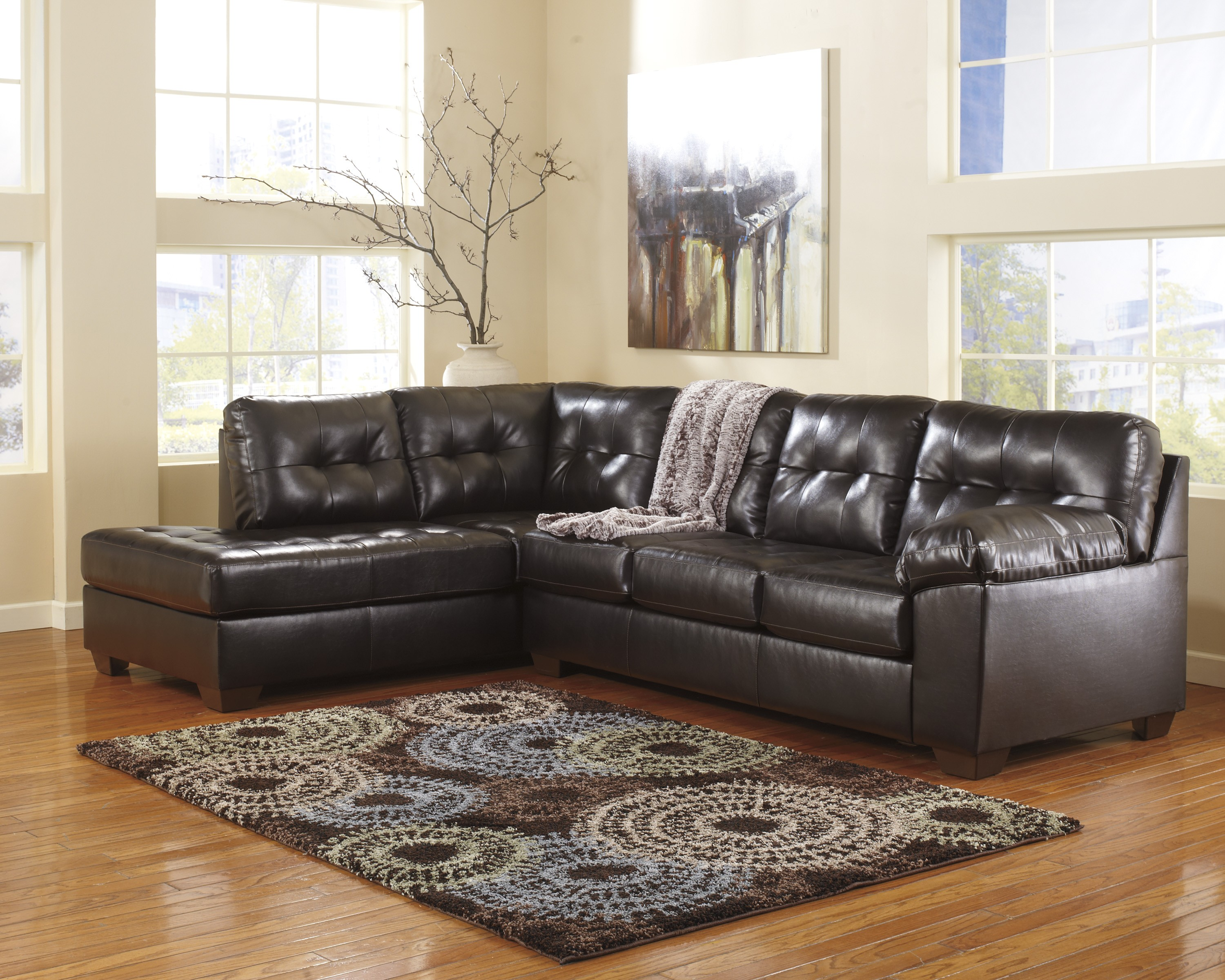 Alliston Durablend Chocolate Left Arm Facing Sectional From Ashley 20101 67 16 Coleman Furniture