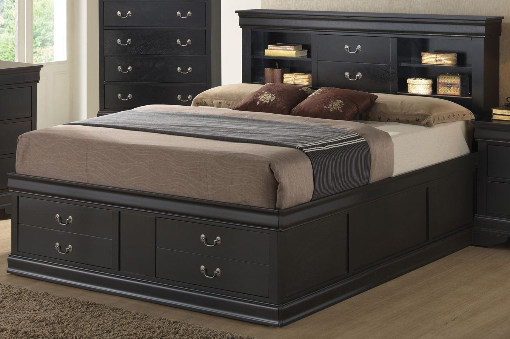 Louis philippe black storage bedroom set from coaster 201079q coleman furniture for Louis philippe bedroom collection