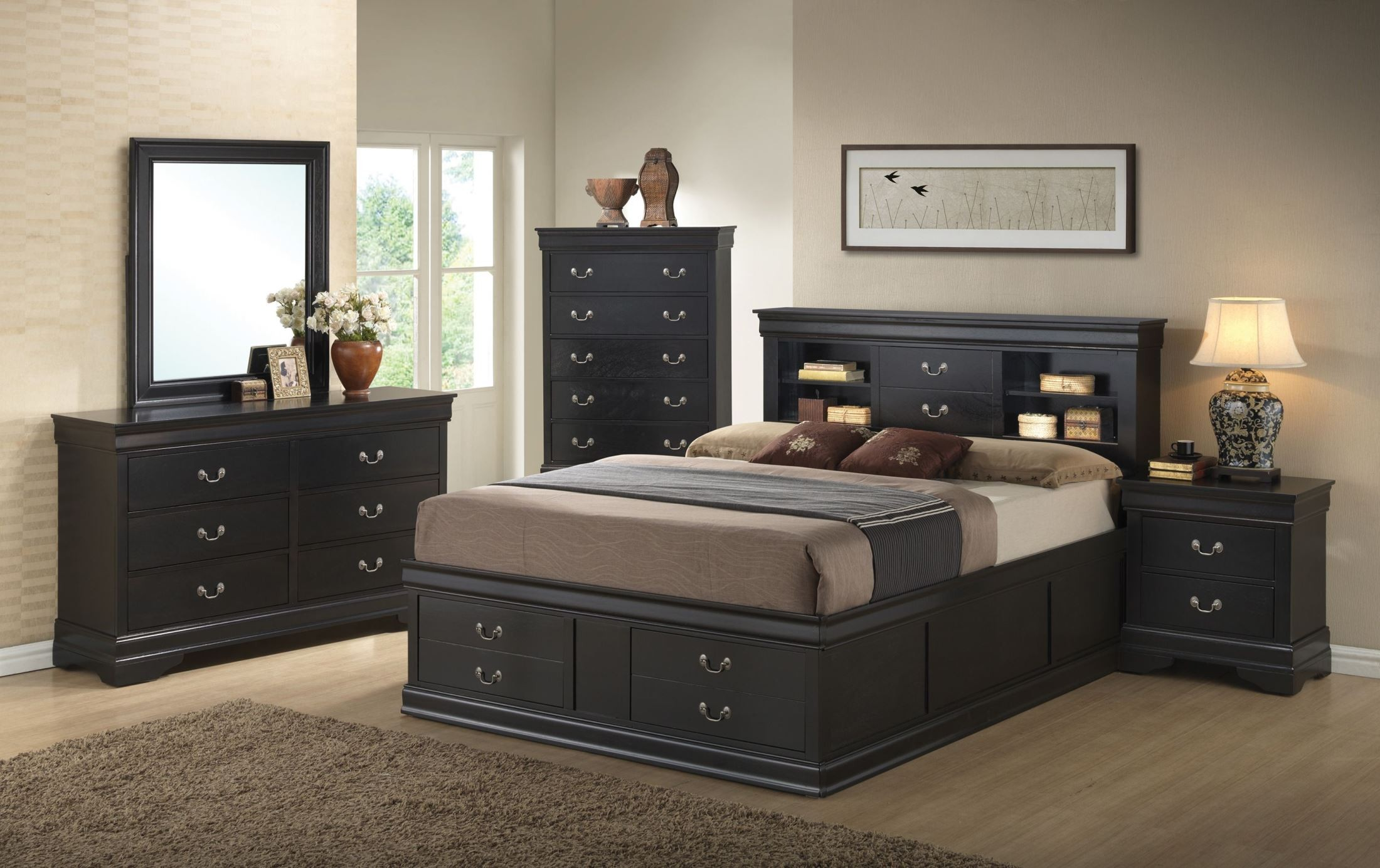 louis philippe black storage bedroom set from coaster 201079q