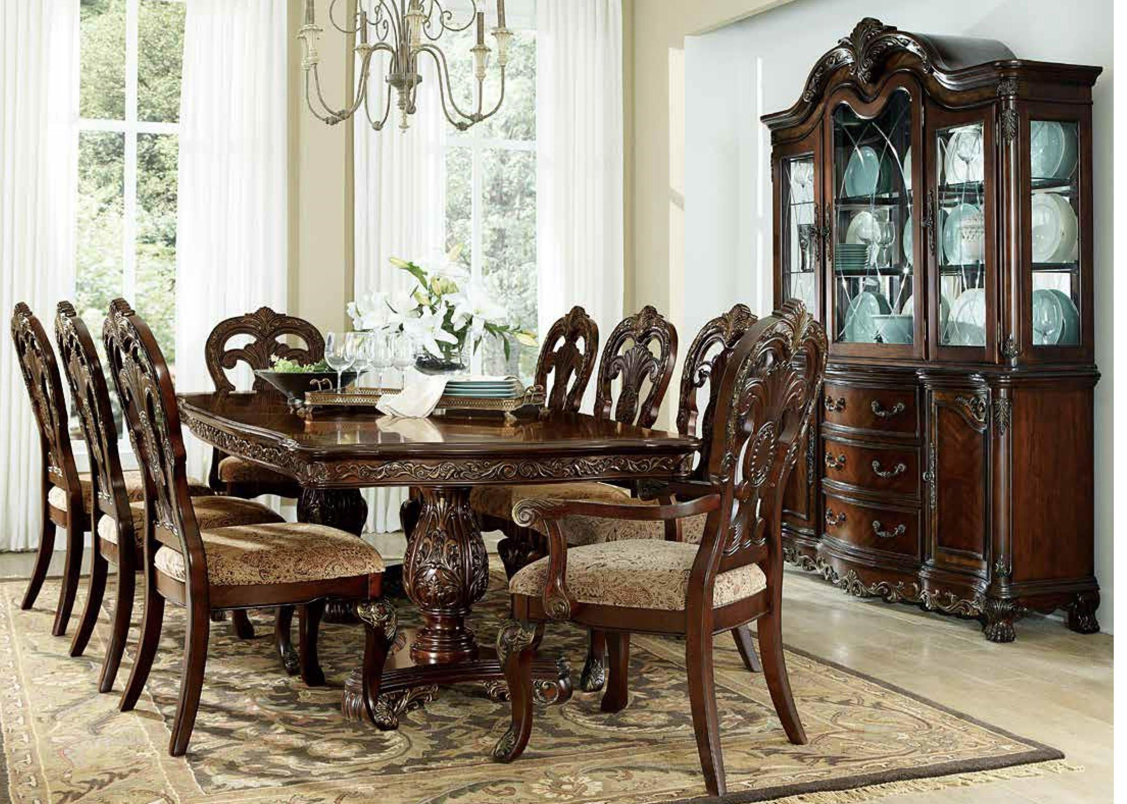 Deryn park cherry extendable oval dining room set from for Cherry dining room set