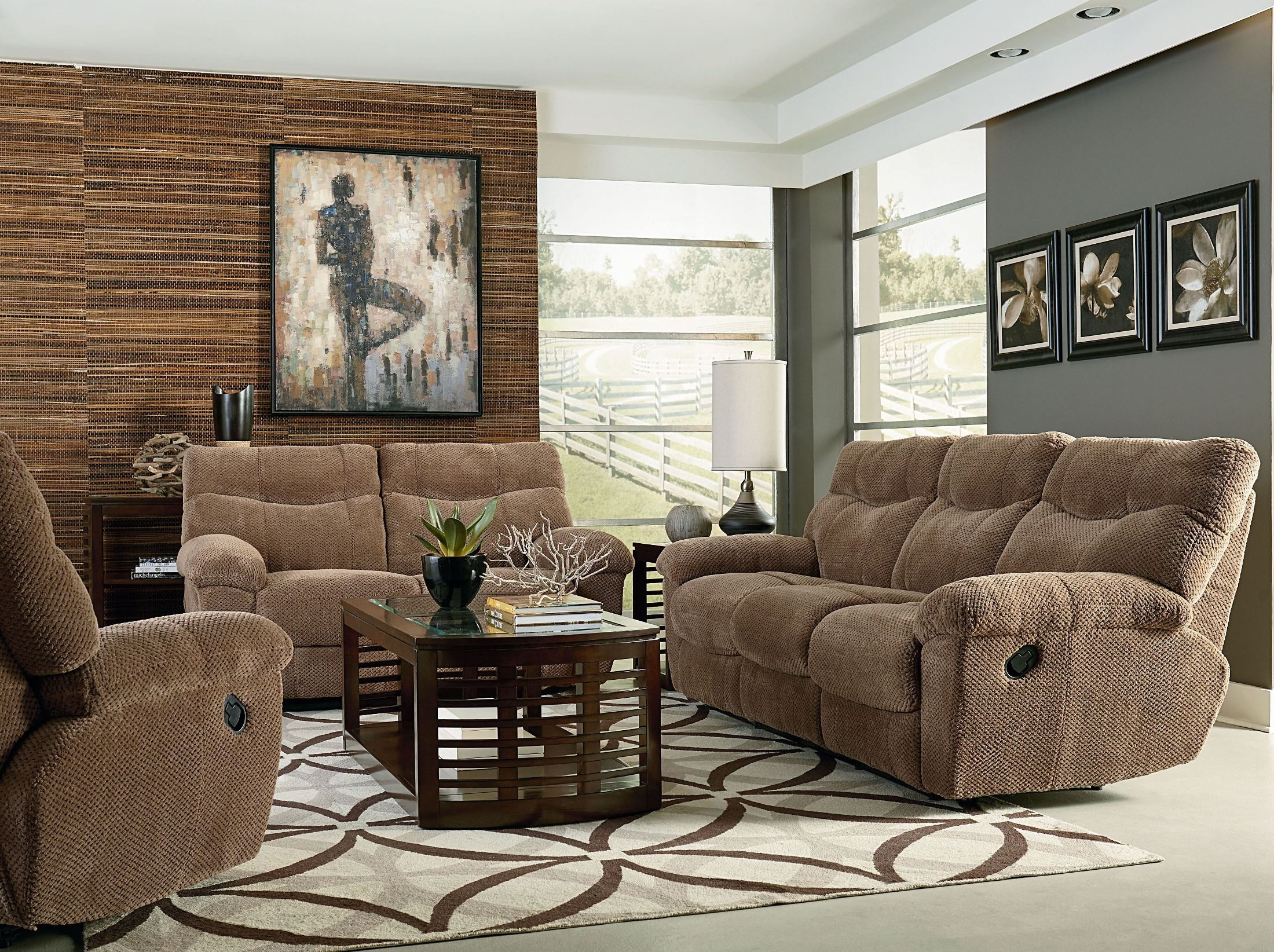 Escapade taupe brown reclining living room set 4012391 for Brown taupe living room