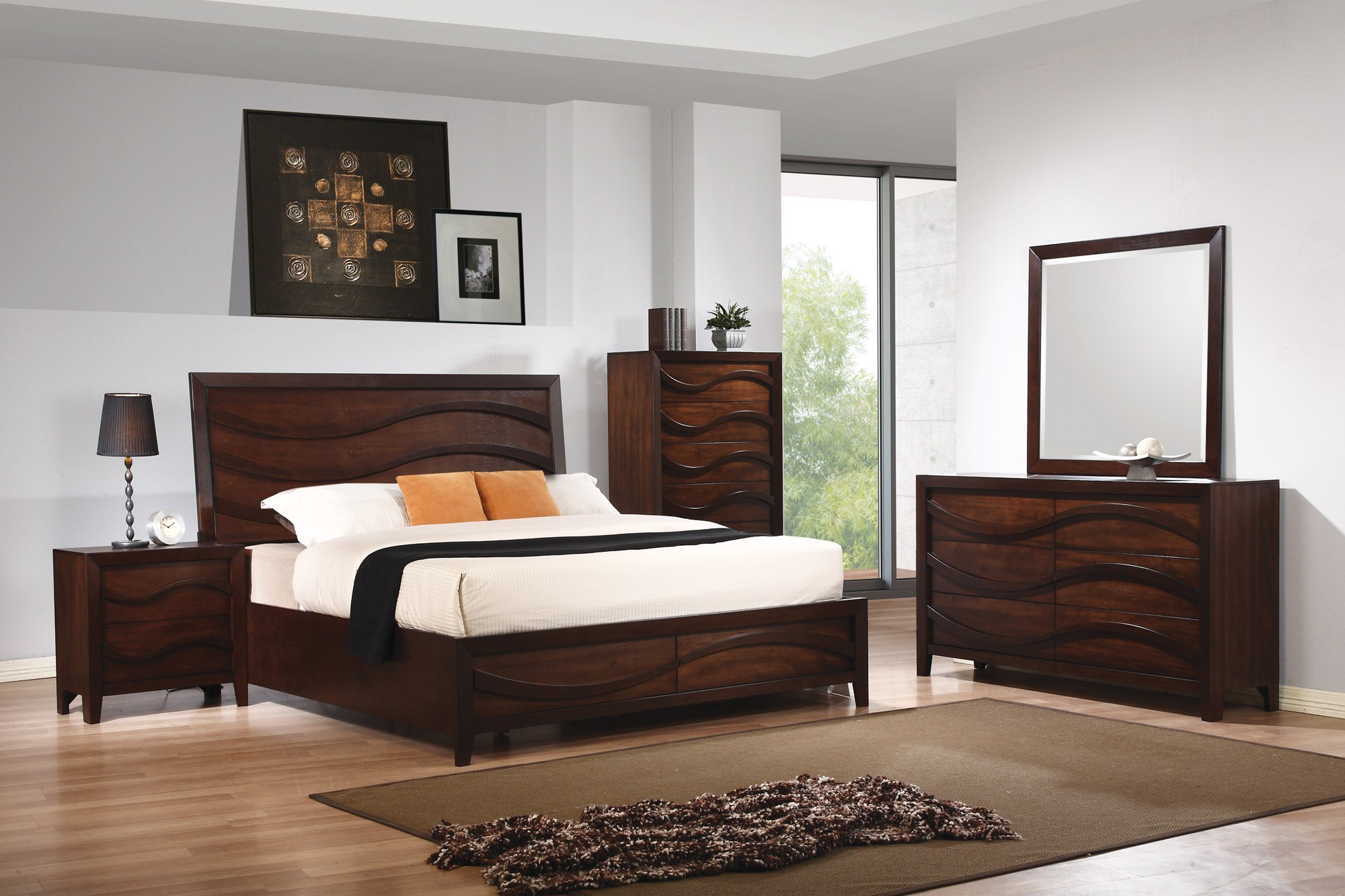 Loncar java oak bedroom set 203101q coaster furniture for Bedroom furniture places
