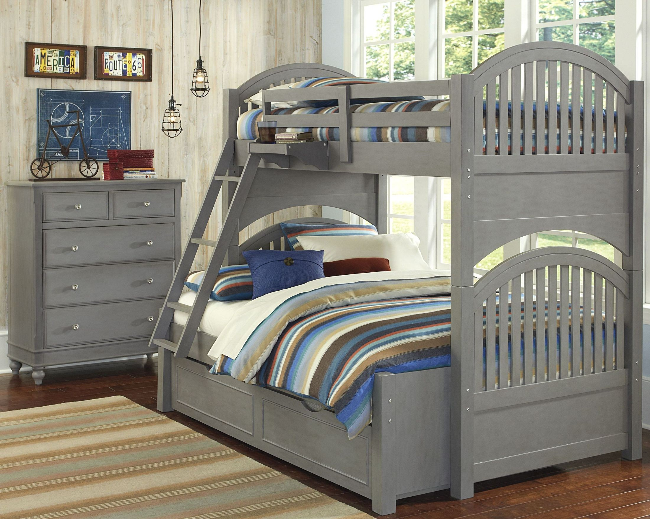 lake house stone adrian twin over full bunk bed with trundle 2035nt ne kids. Black Bedroom Furniture Sets. Home Design Ideas