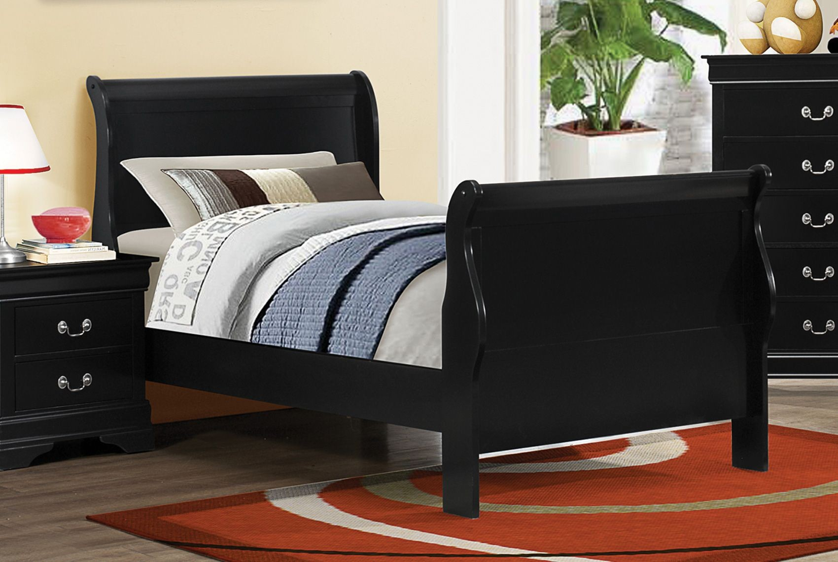 Louis Philippe Black Ii Twin Sleigh Bedroom Set 203961t Coaster