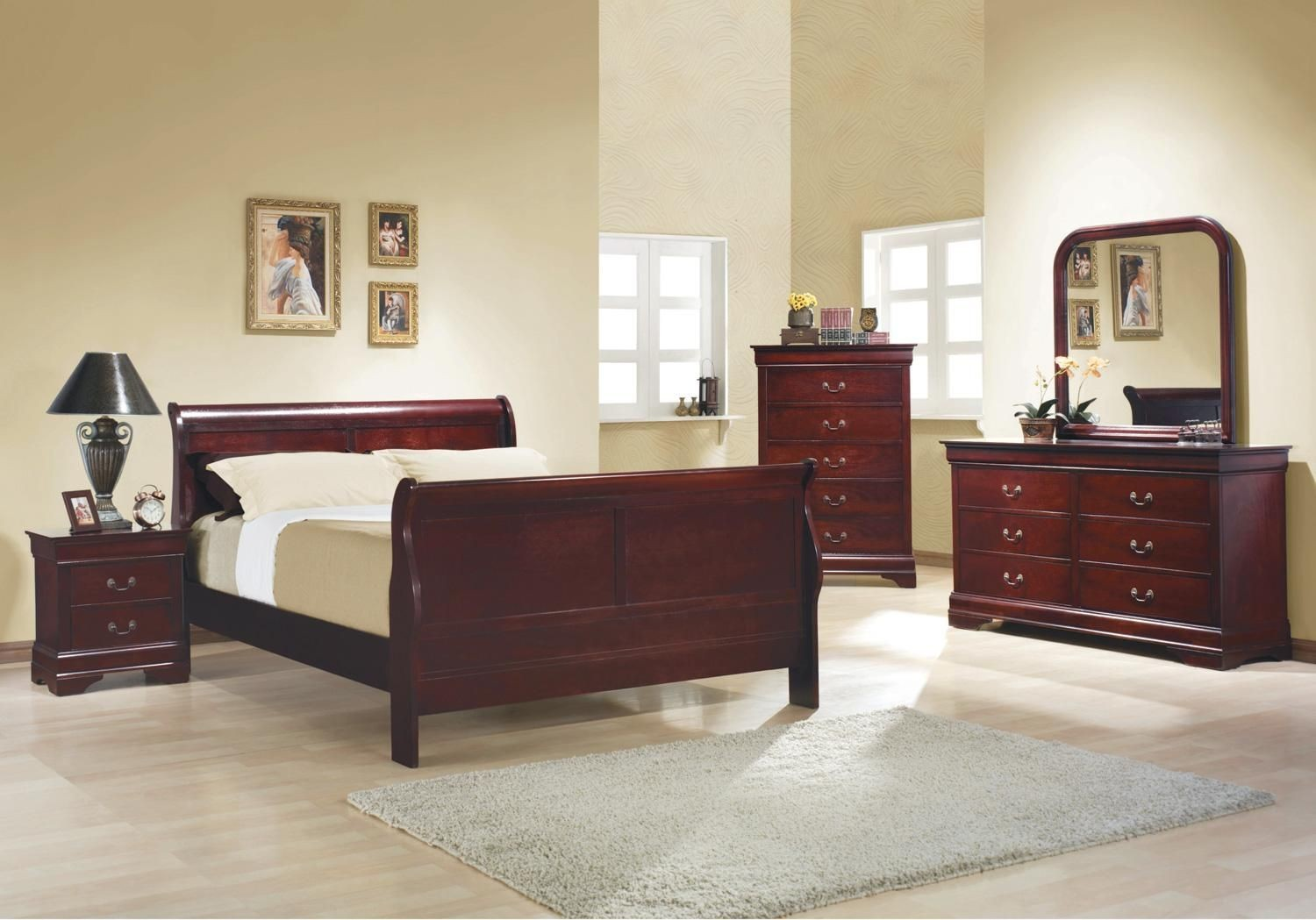 Louis Philippe Reddish Brown Sleigh Bedroom Set From Coaster 203971q Coleman Furniture