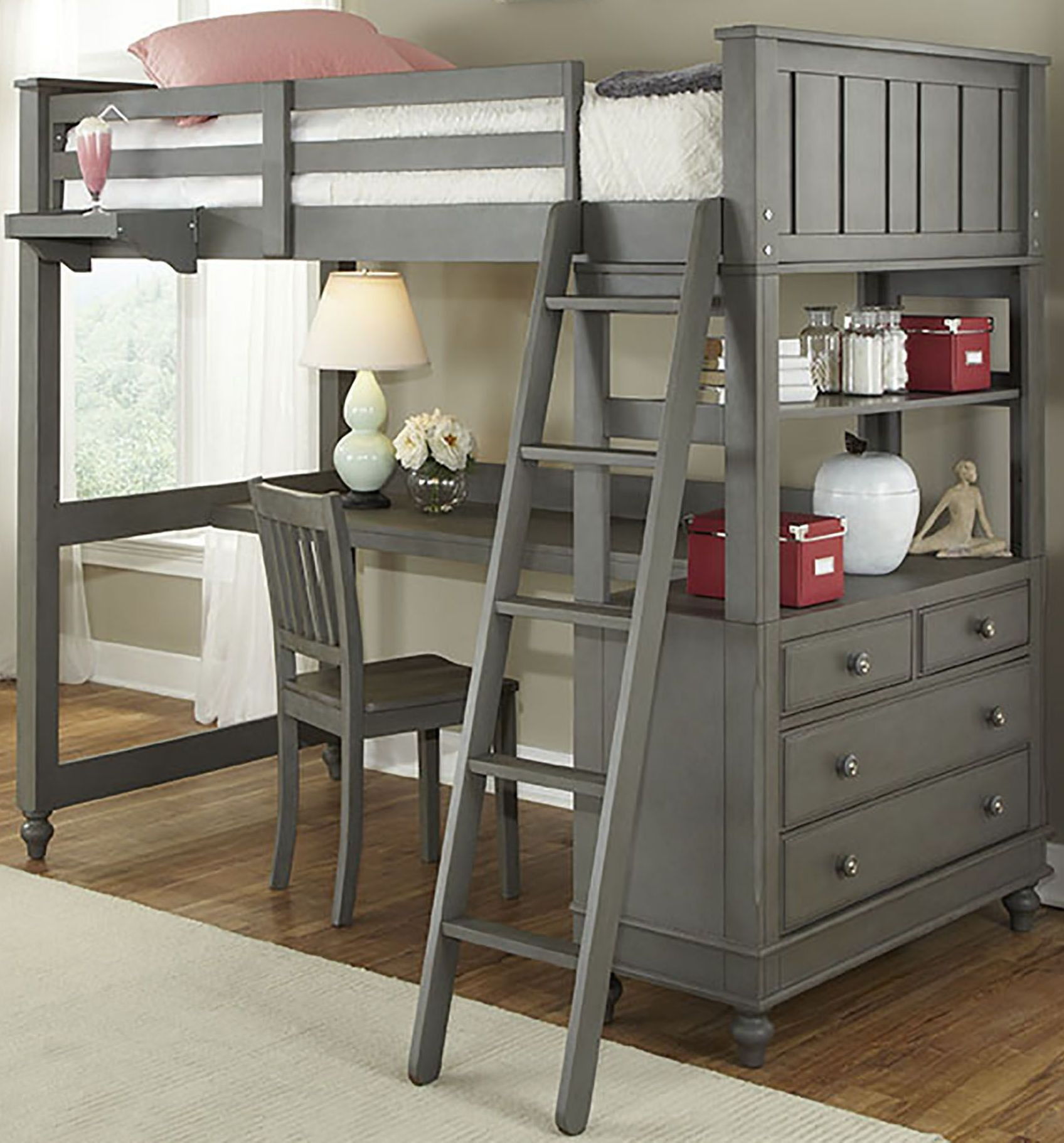 Lake House Stone Twin Loft Bed with Desk, 2040ND, NE Kids