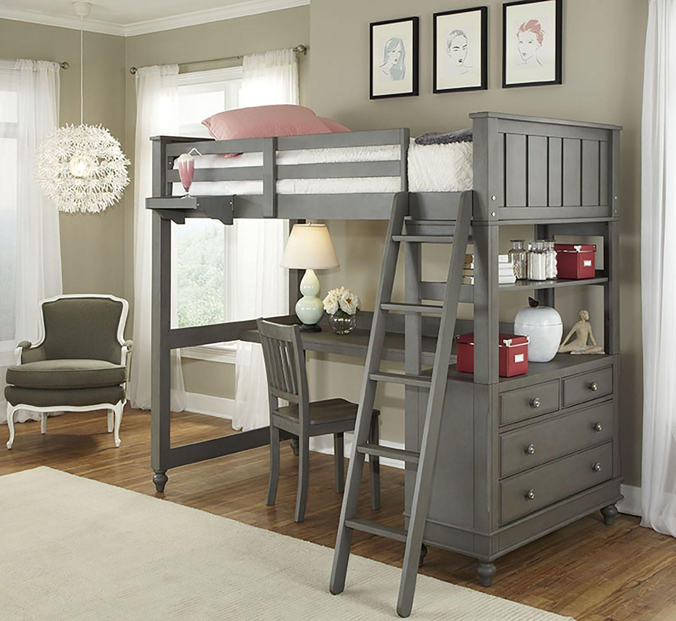 Lake House Stone Youth Loft Bedroom Set With Desk 2040nd Ne Kids