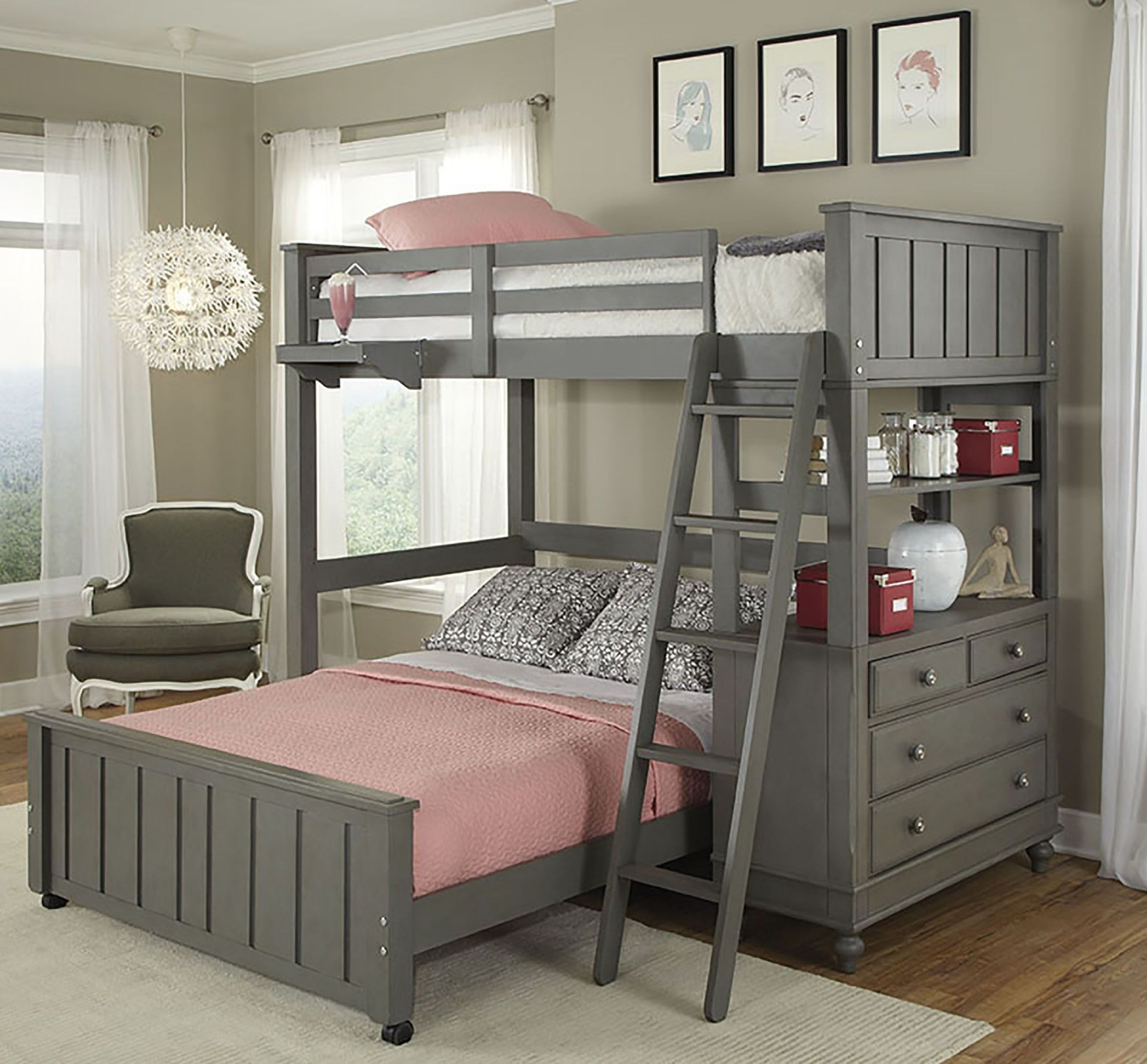 Lake house stone youth loft bedroom set with full lower for Loft net bed