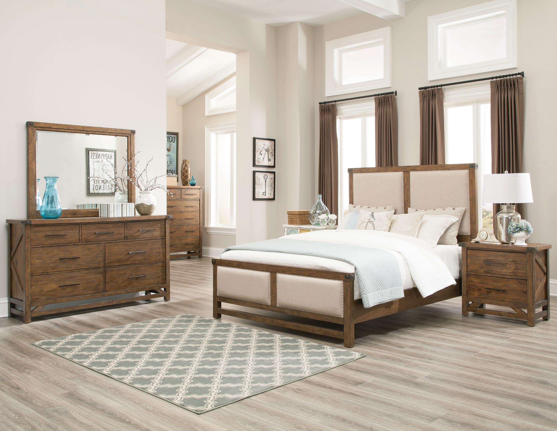 bridgeport weathered acacia panel bedroom set from coaster