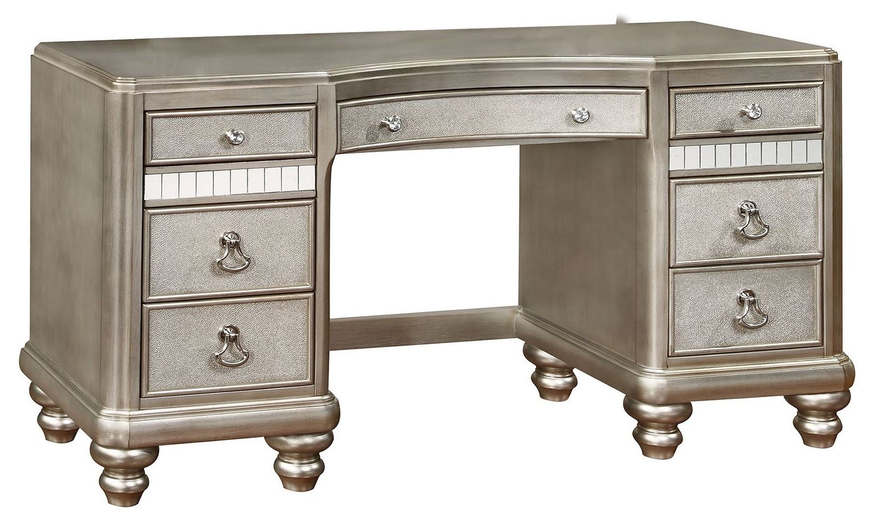 Bling game metallic platinum vanity desk from coaster for Vanity desk furniture