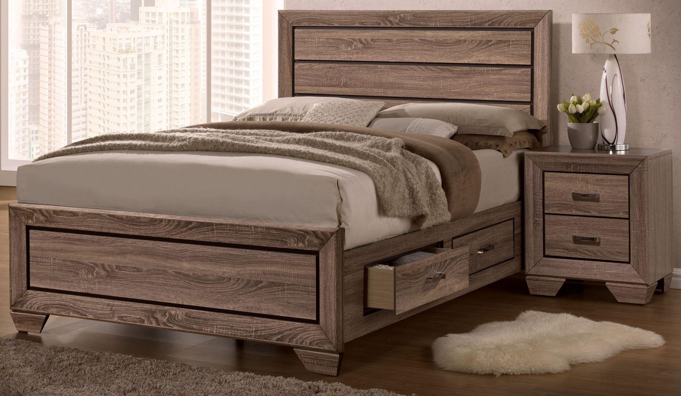 kauffman washed taupe panel storage bedroom set 204190q