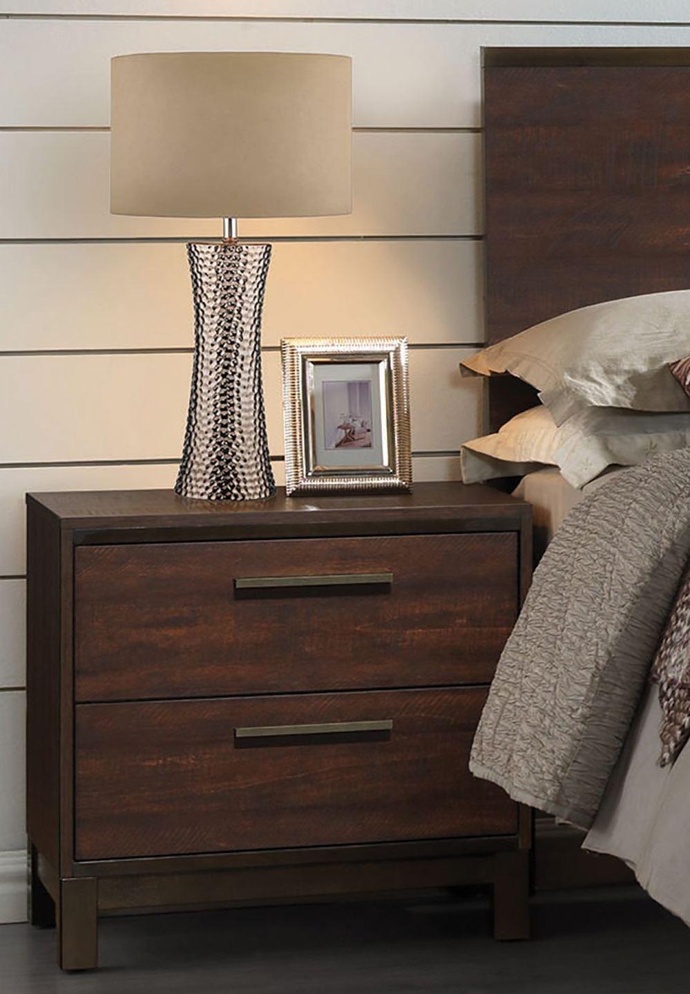 Edmonton rustic tobacco platform bedroom set 204351q for Bedroom furniture edmonton