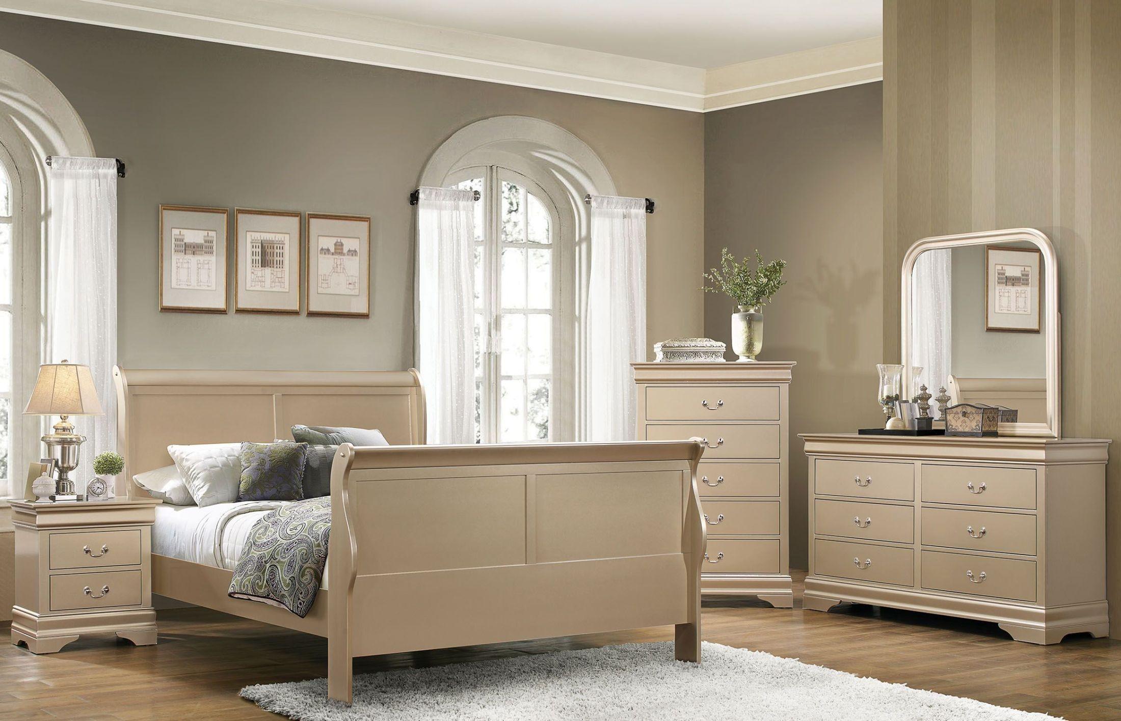 Hershel Louis Philippe Metallic Champagne Panel Bedroom Set 204421Q Coaster